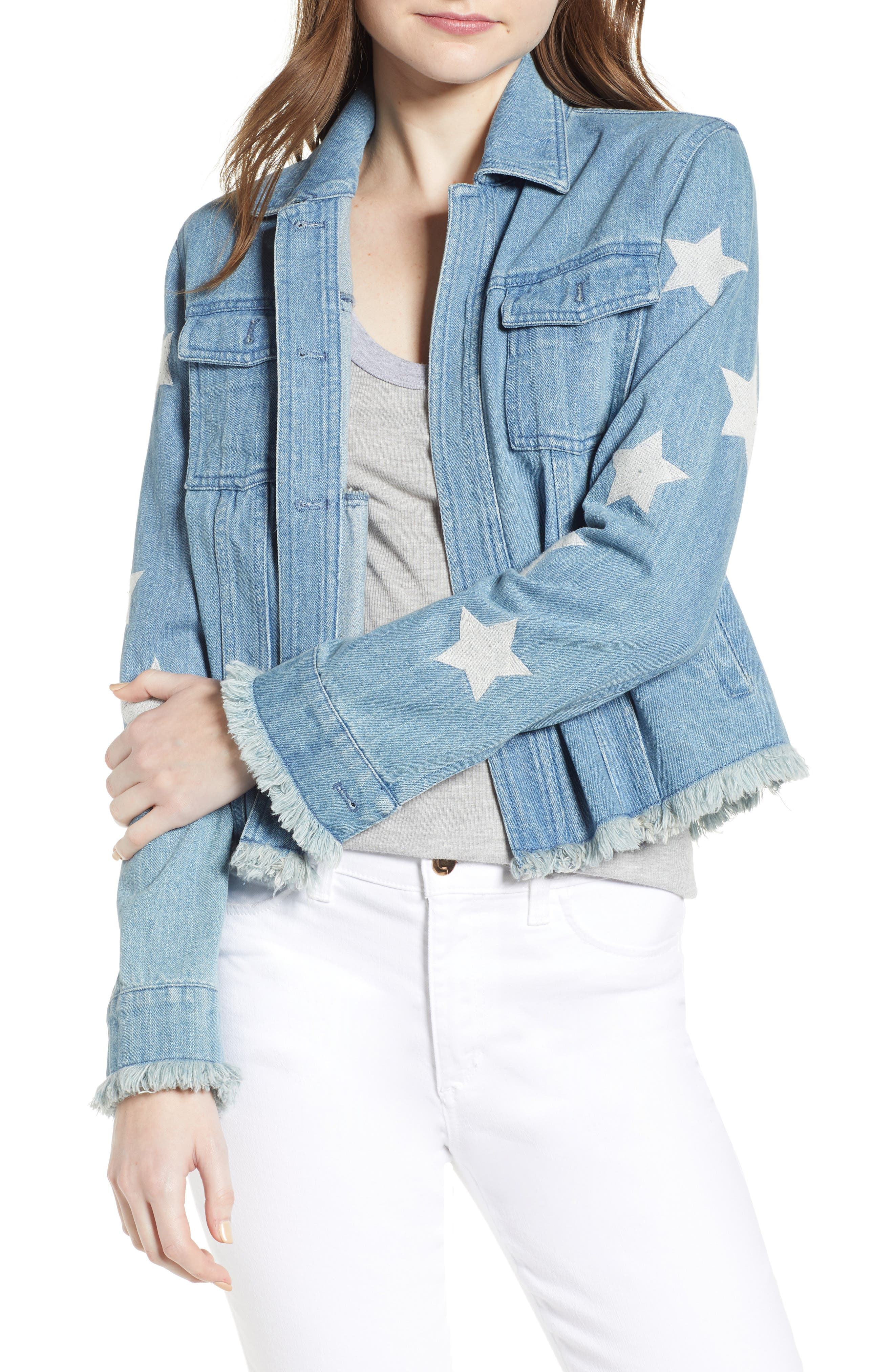cupcakes and cashmere Affleck Embroidered Star Denim Jacket
