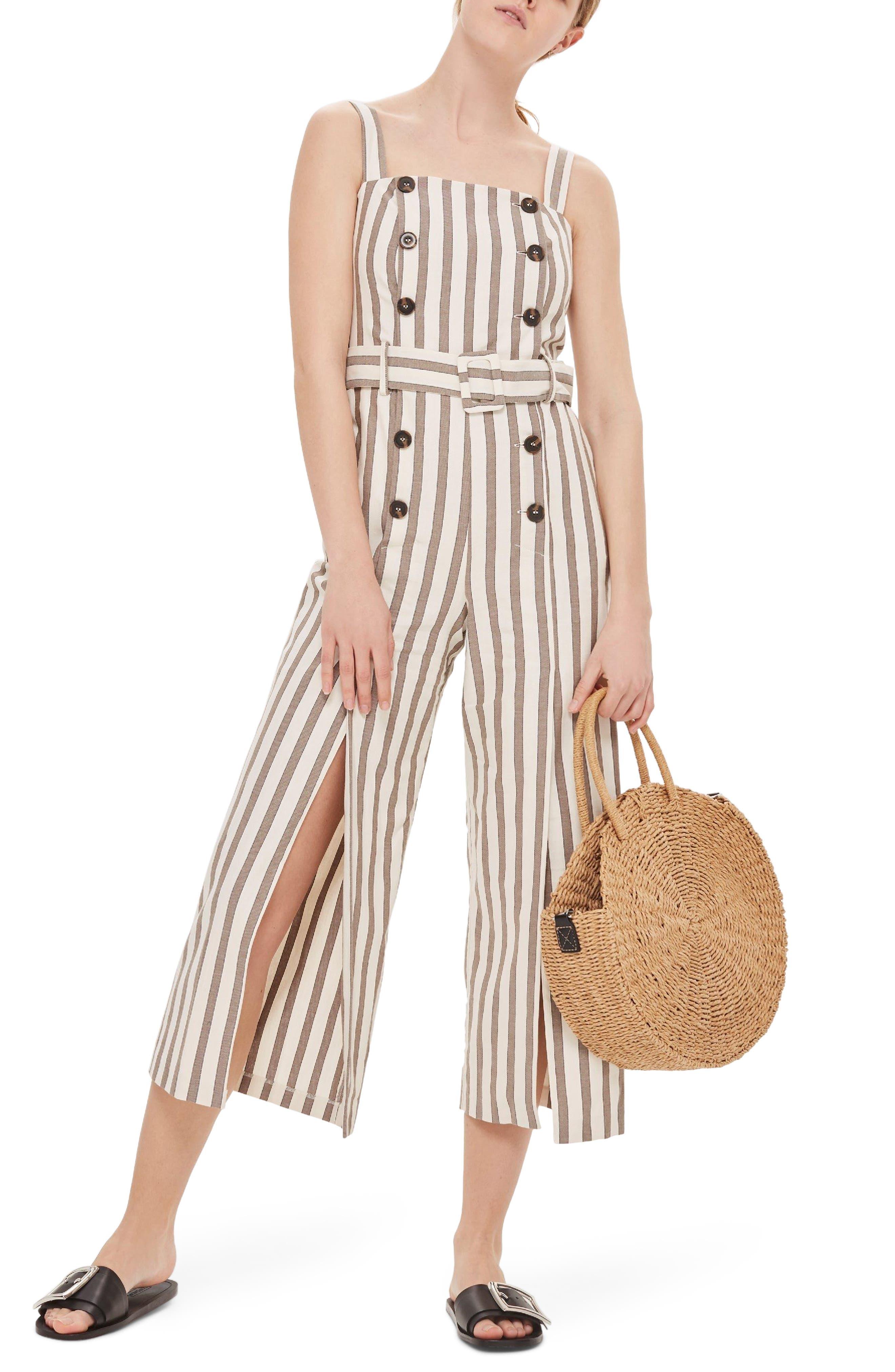 Button Stripe Cropped Jumpsuit,                             Main thumbnail 1, color,                             Light Brown Multi