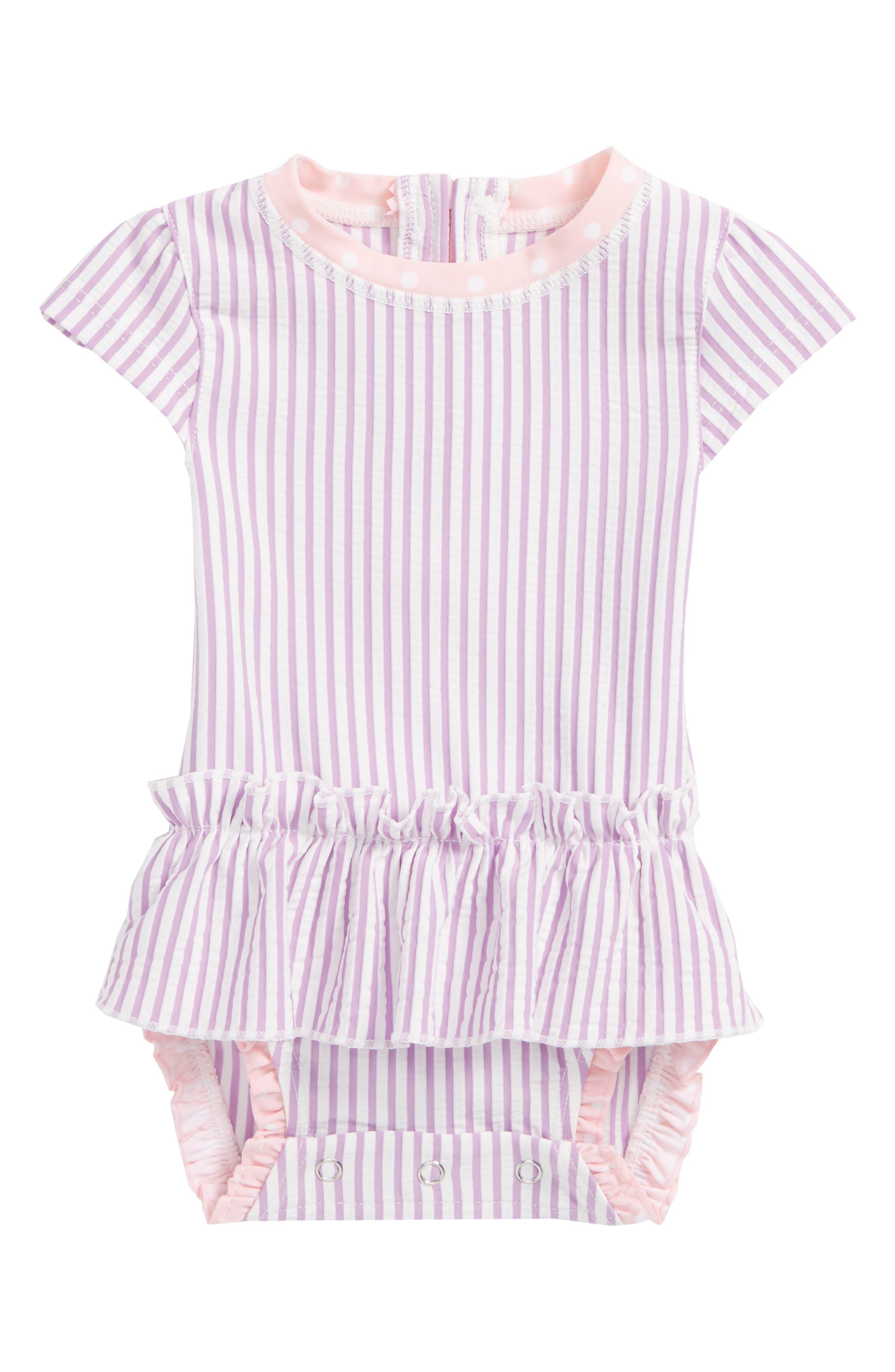 RuffleButts Lilac Peplum One-Piece Swimsuit (Baby Girls)