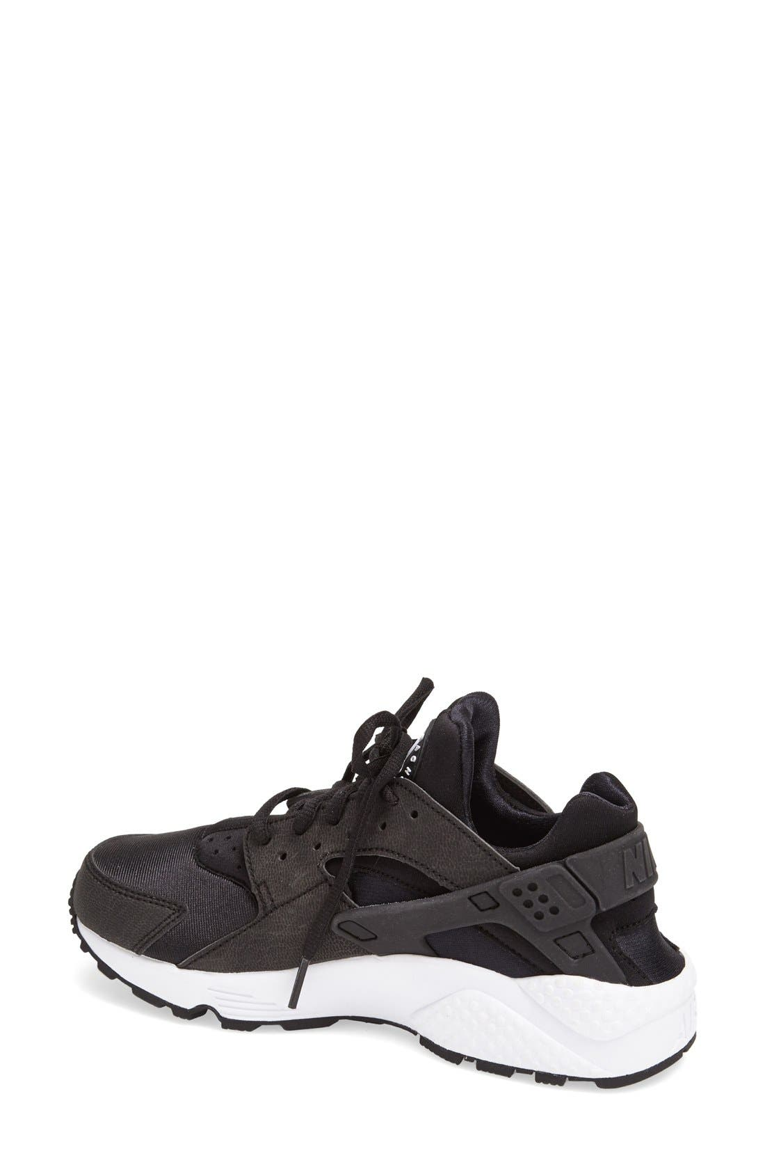 'Air Huarache' Sneaker,                             Alternate thumbnail 2, color,                             Black/ White