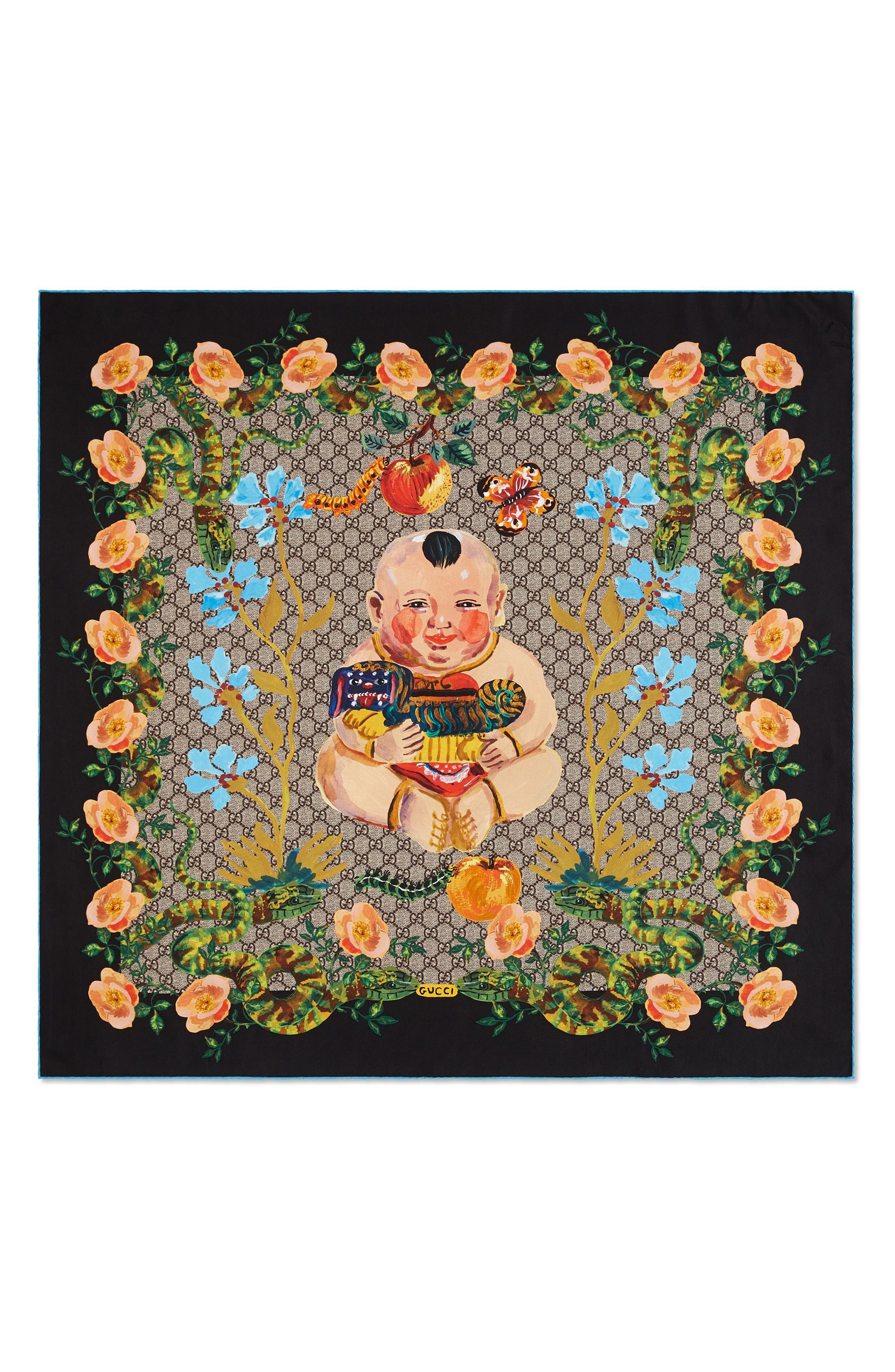 Gucci GG Baby & Flowers Print Silk Twill Scarf