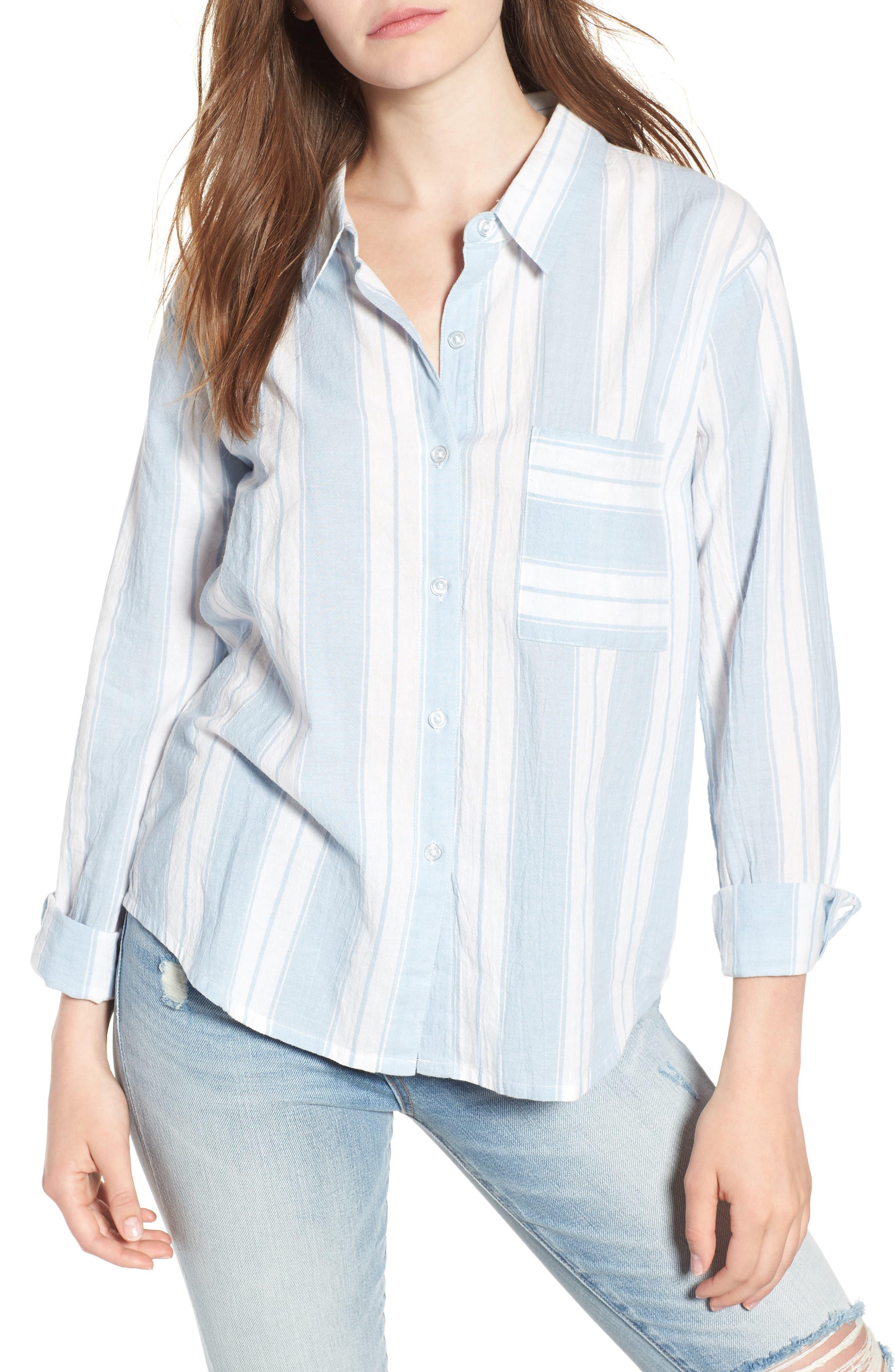 Bleach Stripe Chambray Top,                         Main,                         color, Blue/ White