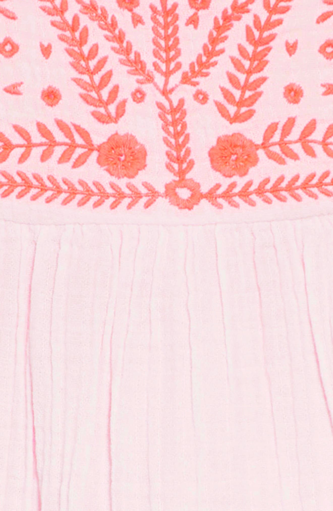 Embroidered Woven Caftan Dress,                             Alternate thumbnail 3, color,                             Pink Mist