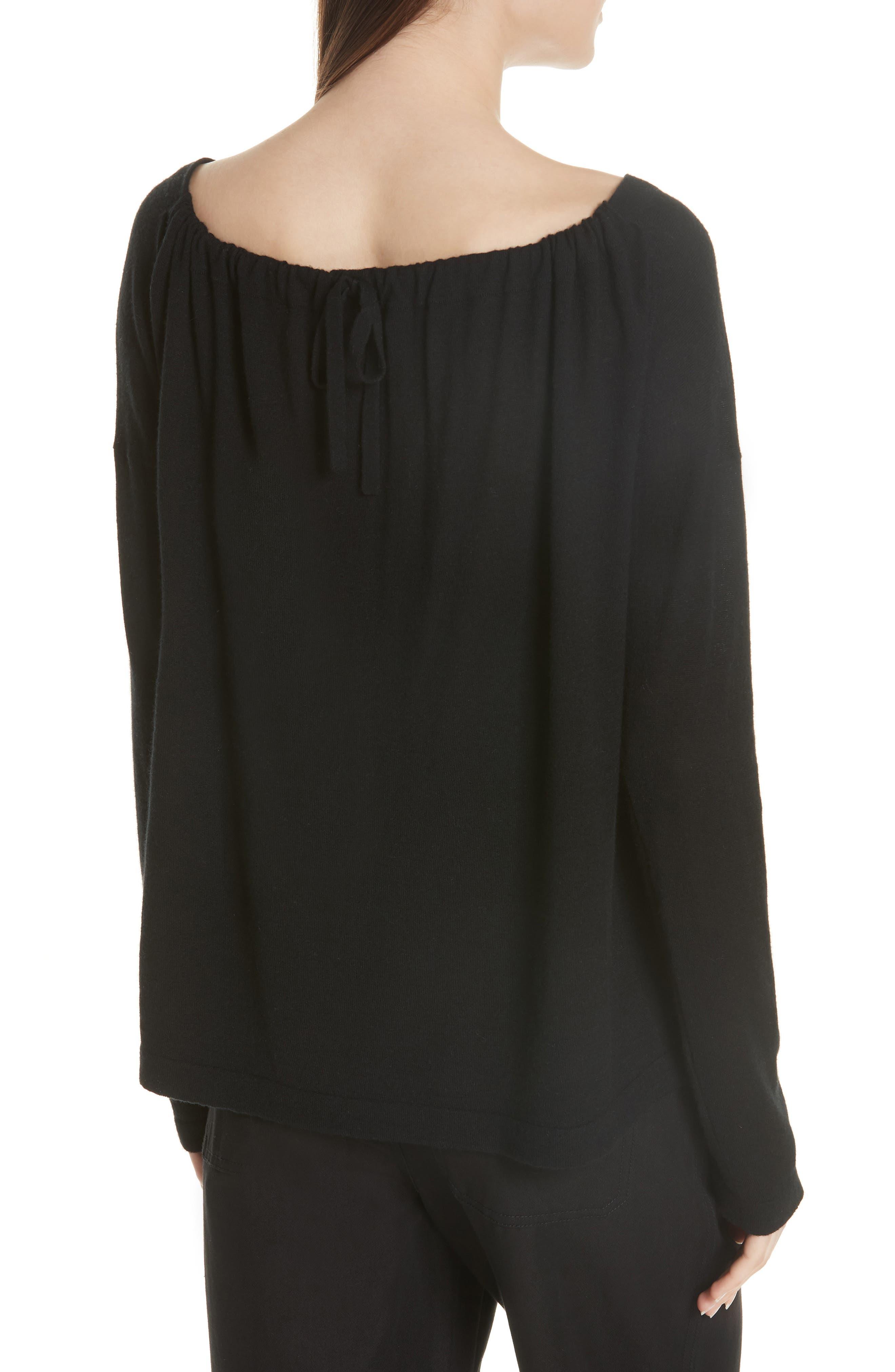 Cinched Back Cashmere Sweater,                             Alternate thumbnail 2, color,                             Black