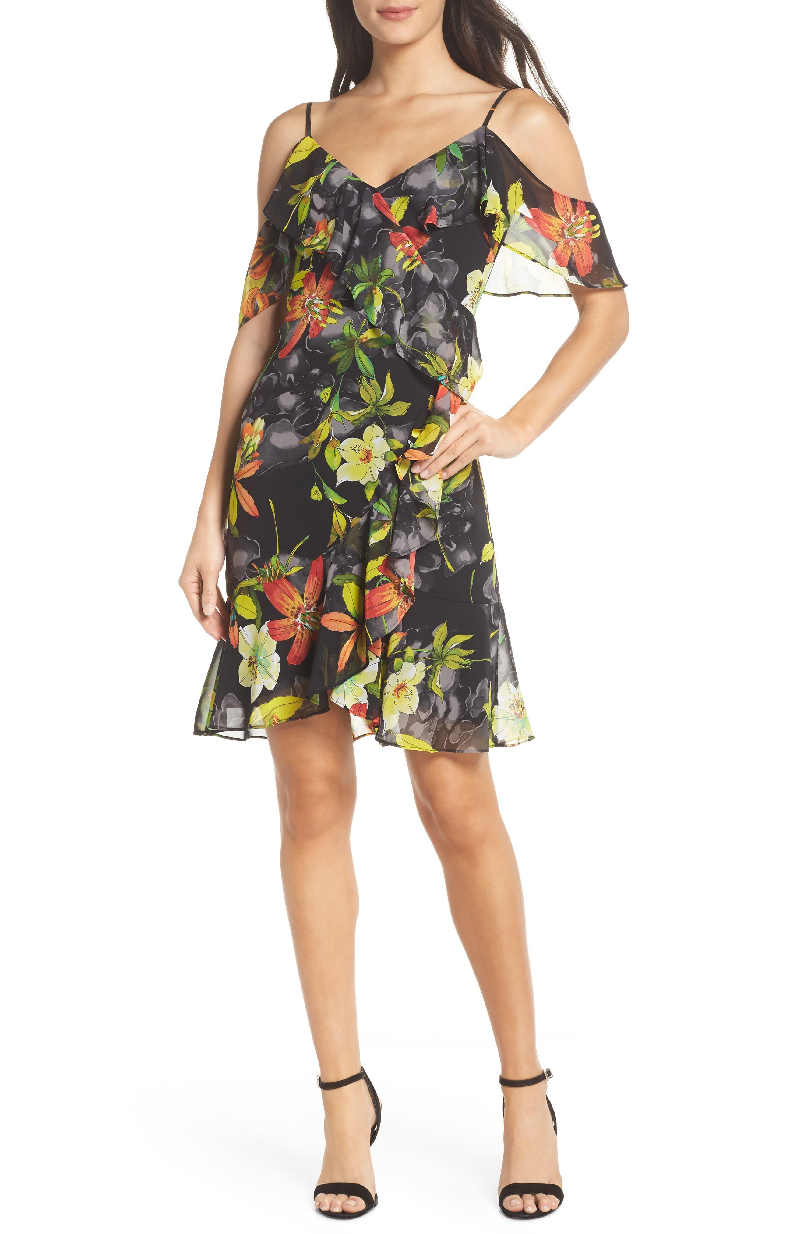 Print Cold Shoulder Chiffon Dress,                         Main,                         color, Black/ Red