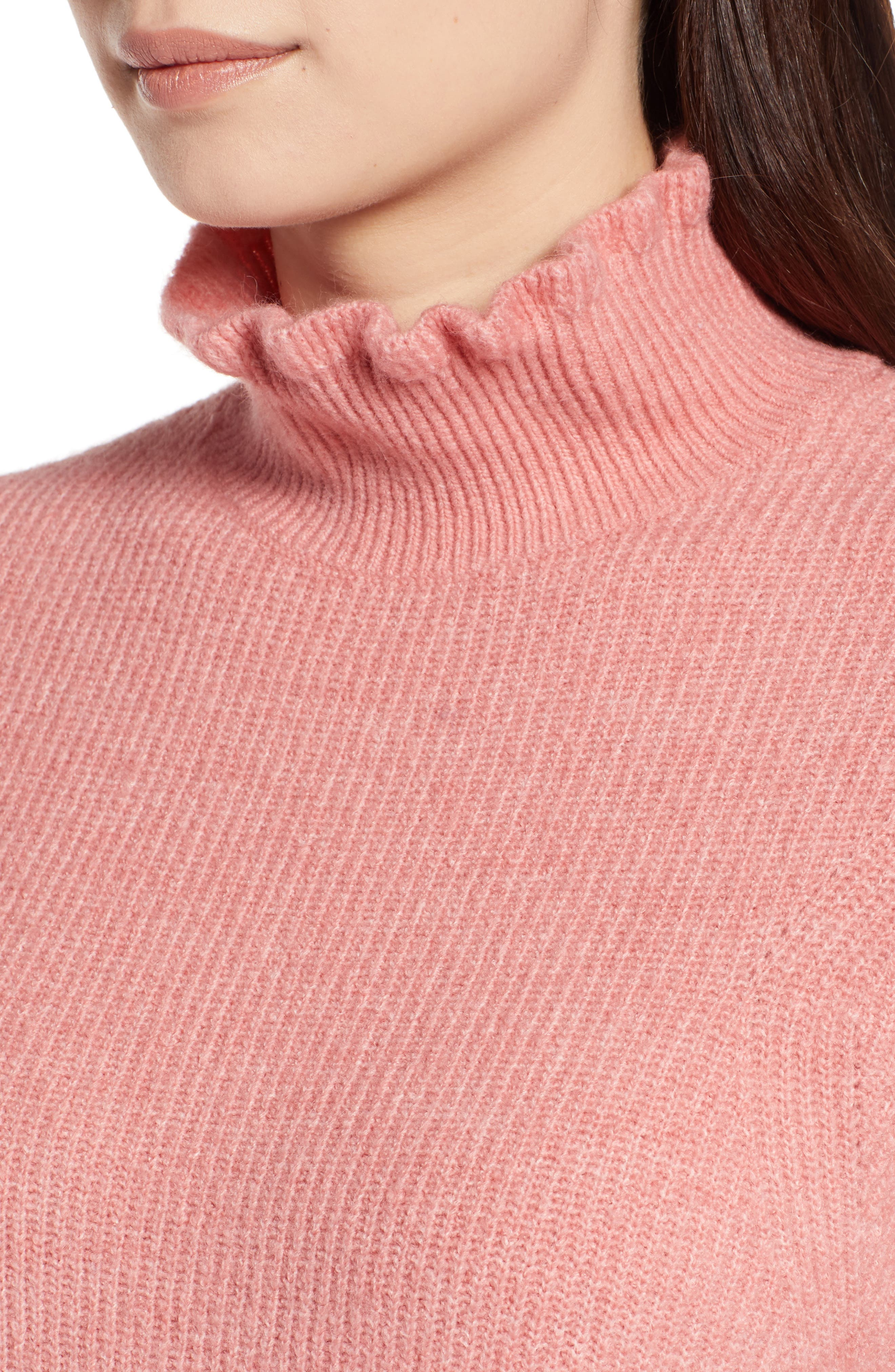 Ruffle Neck Sweater,                             Alternate thumbnail 4, color,                             Pink Apricot