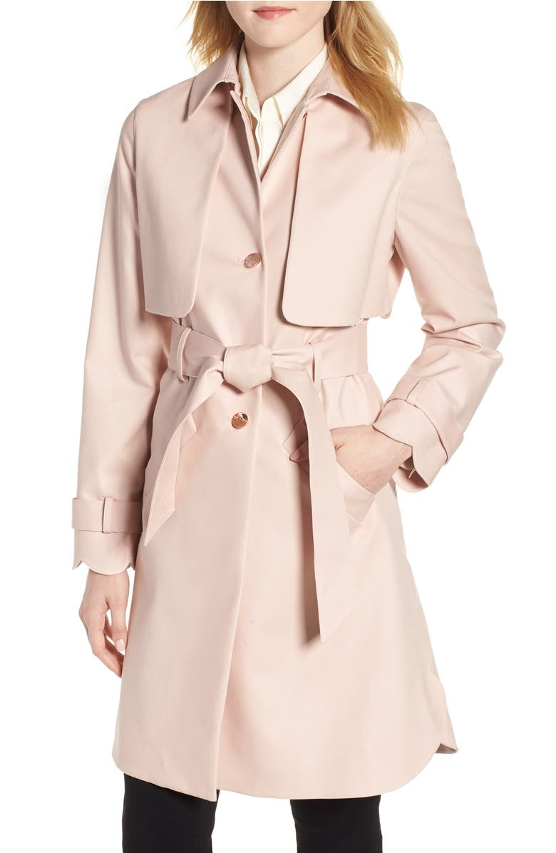Scallop Detail Trench Coat,                         Main,                         color, Nude Pink