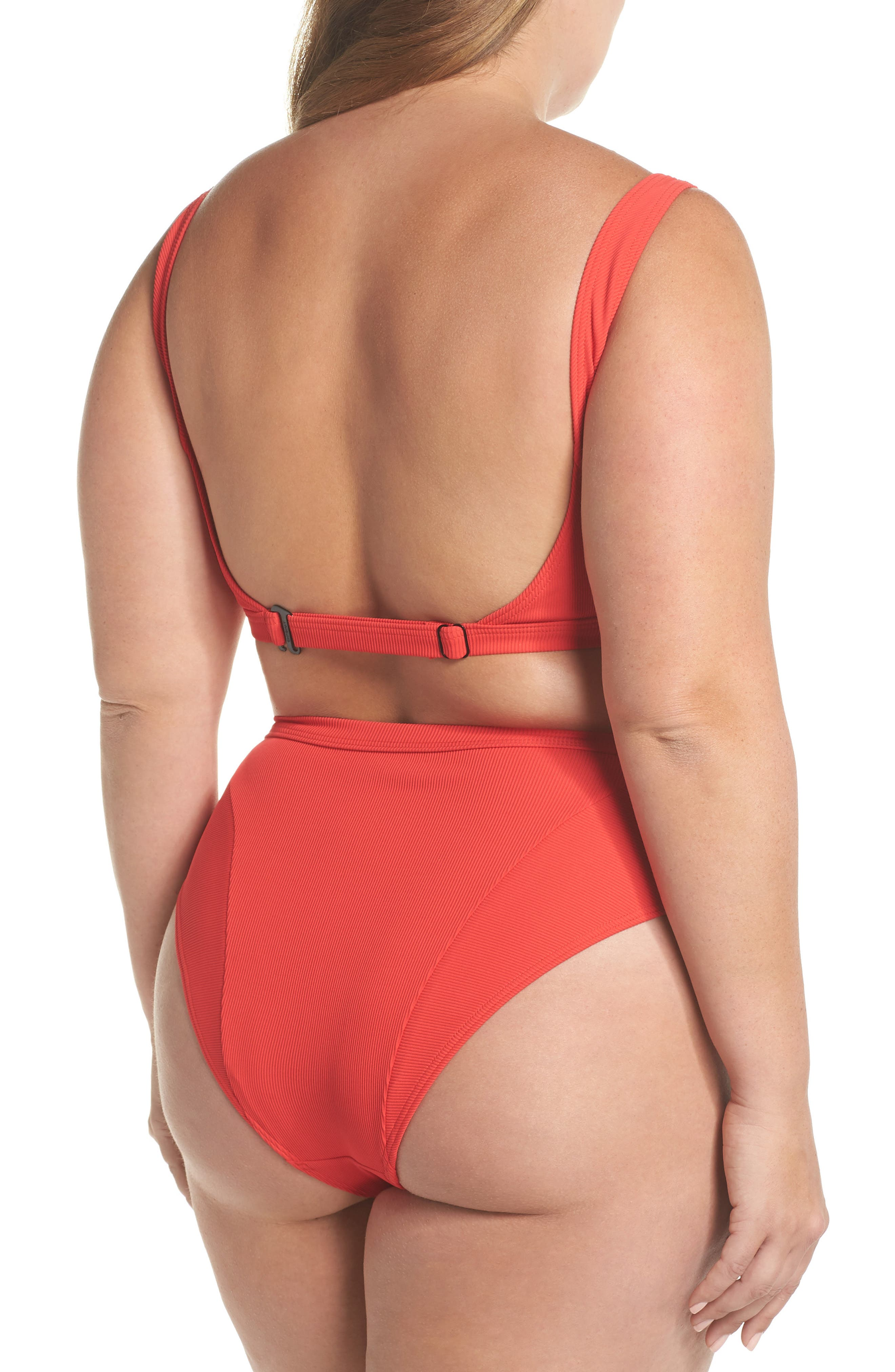 Ribbed Swim Bottoms,                             Alternate thumbnail 6, color,                             Red