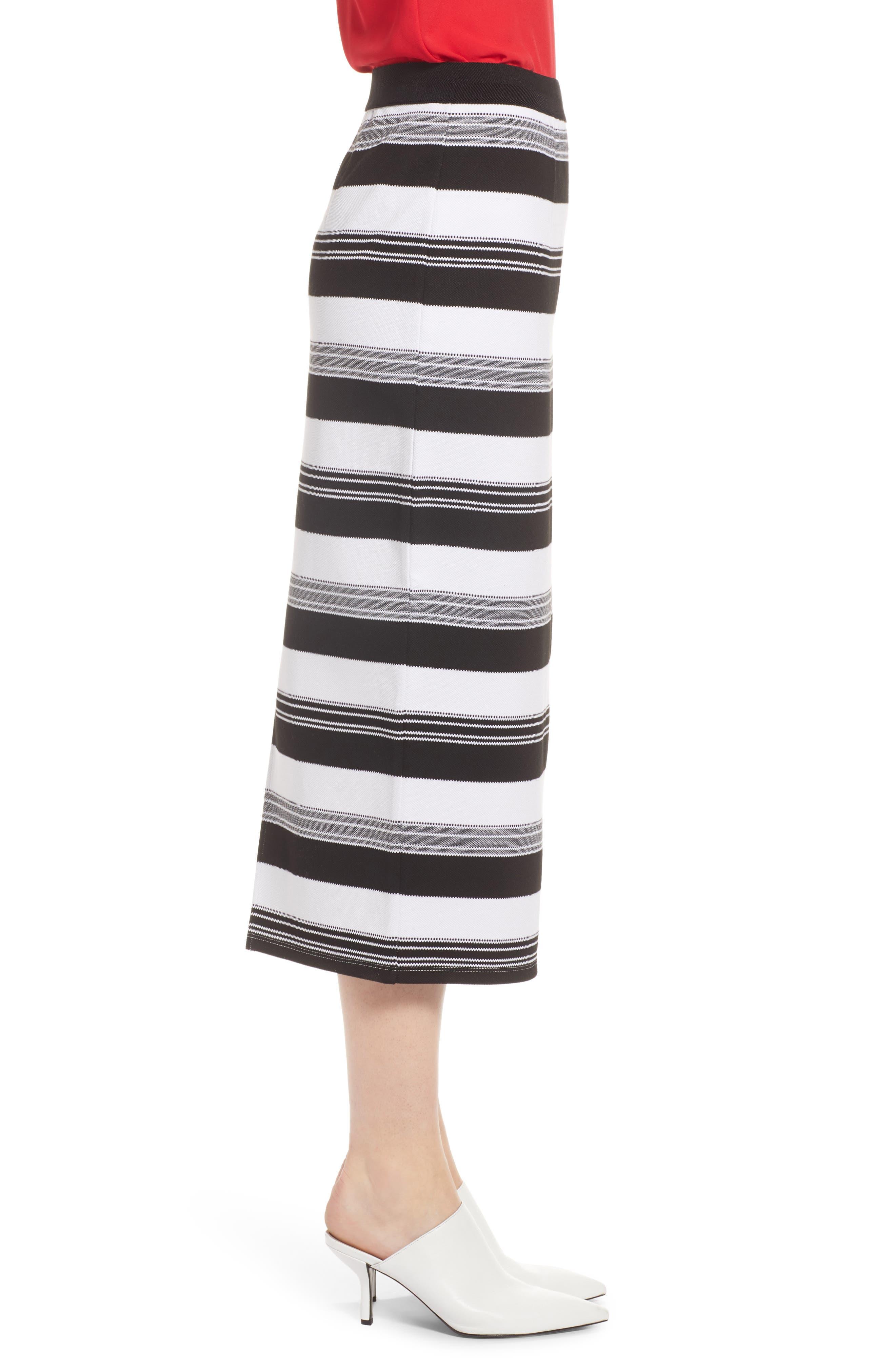 Knit Pencil Skirt,                             Alternate thumbnail 3, color,                             Black- Ivory Stripe