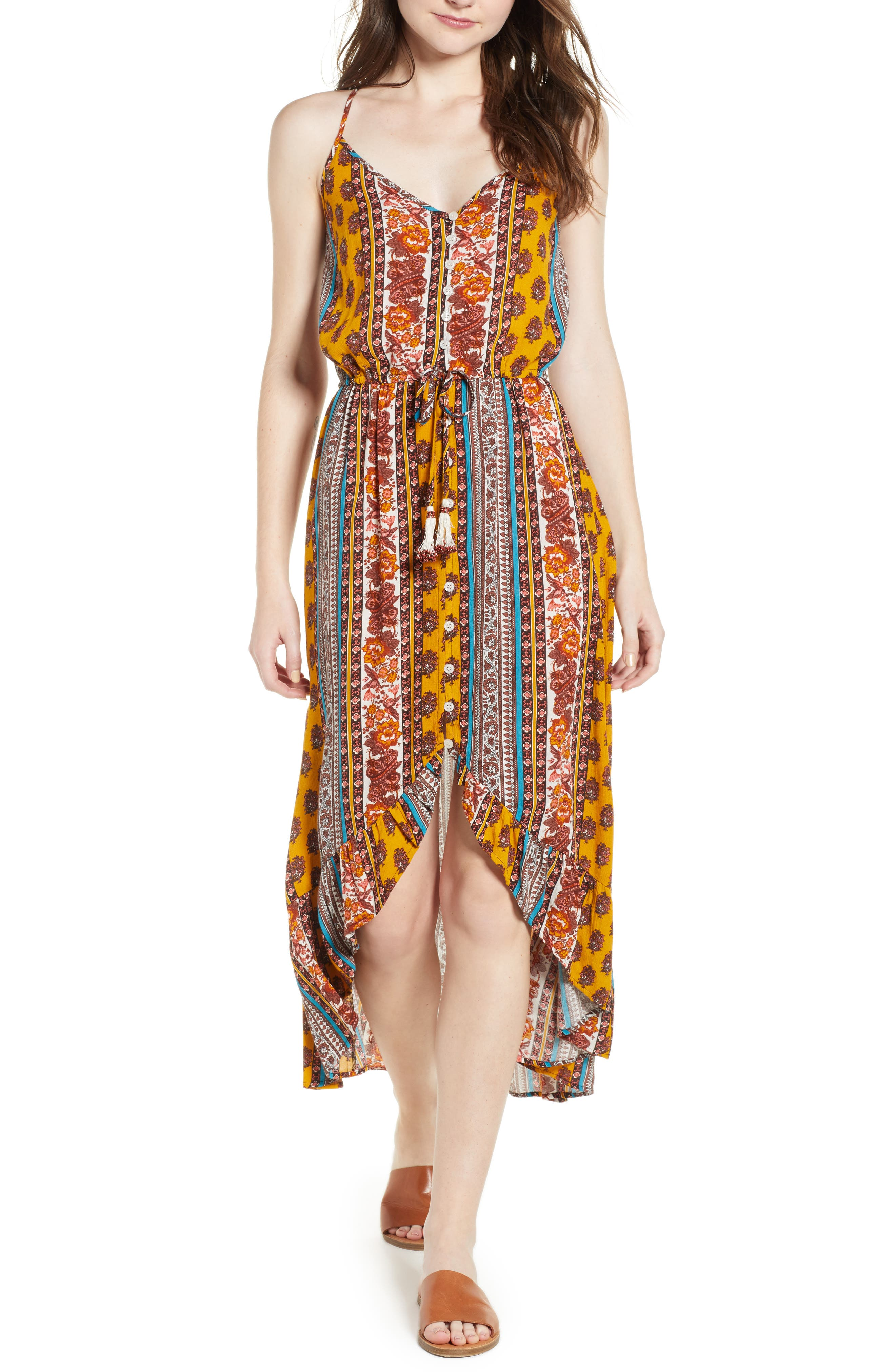 Geo Stripe High/Low Dress,                             Main thumbnail 1, color,                             Gold/ Teal