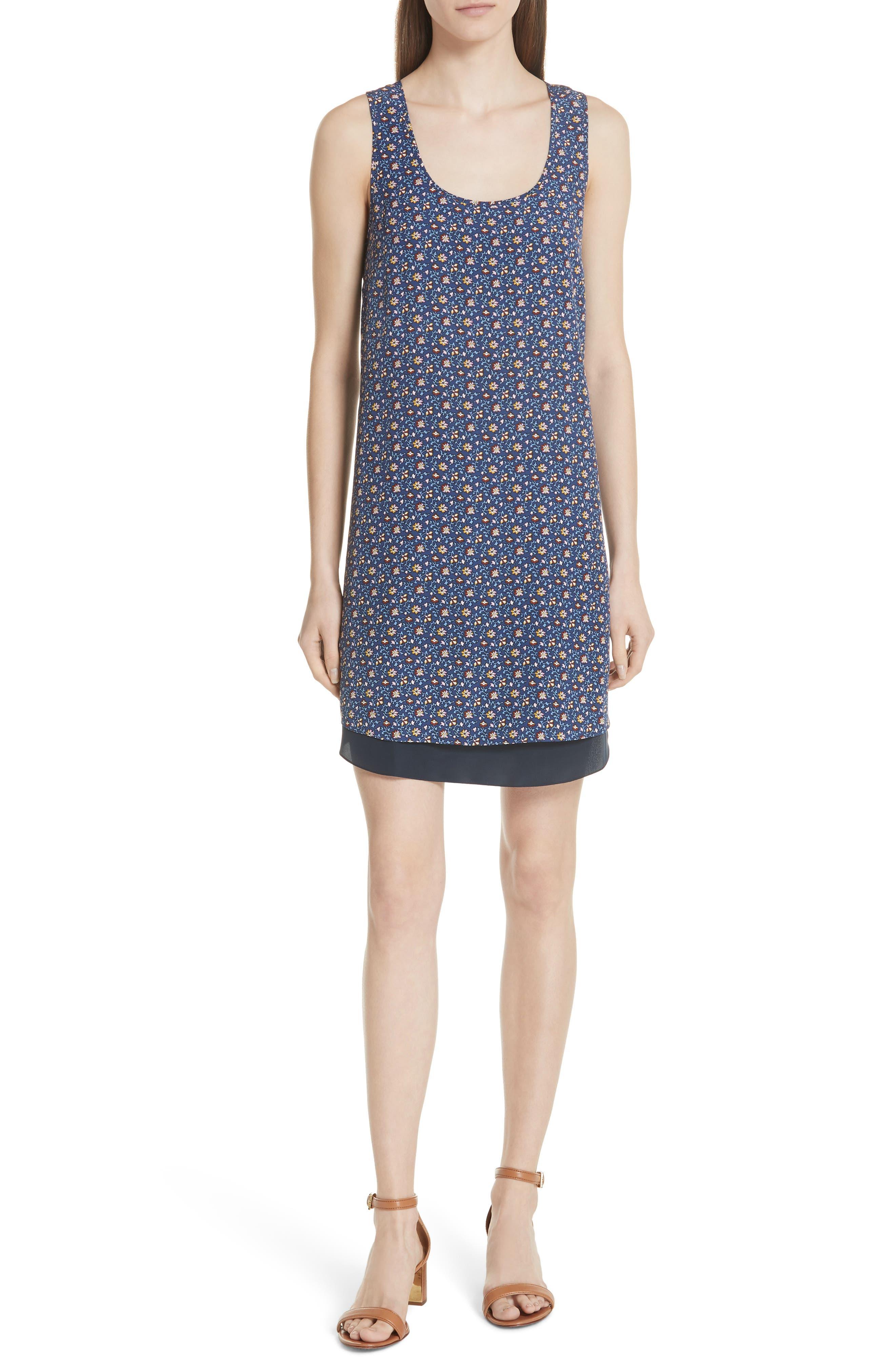 Sydney Sleeveless Silk Dress,                         Main,                         color, Blue Wild Pansy