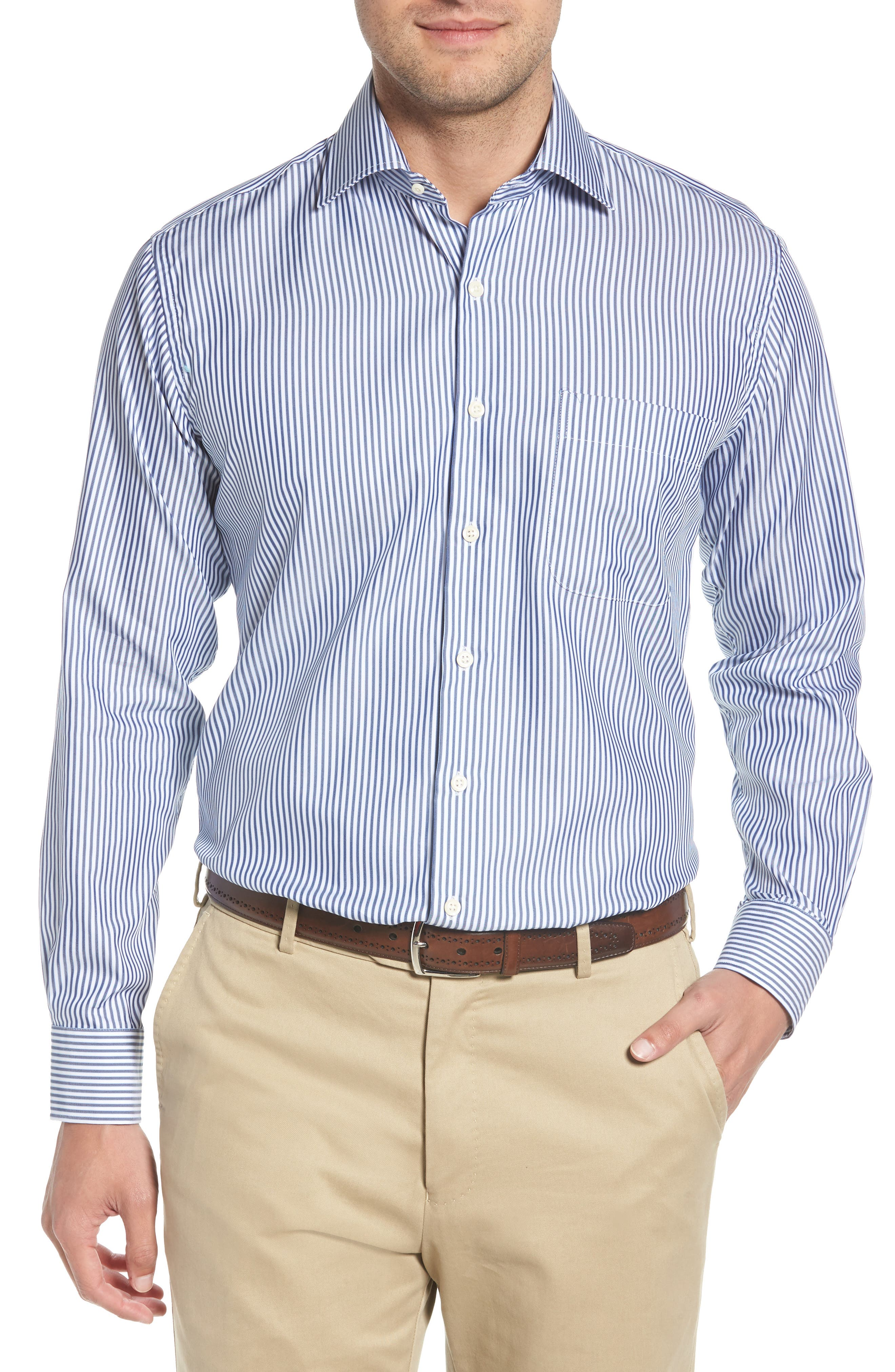 Crown Soft Avery Regular Fit Stripe Sport Shirt,                         Main,                         color, Yankee Blue