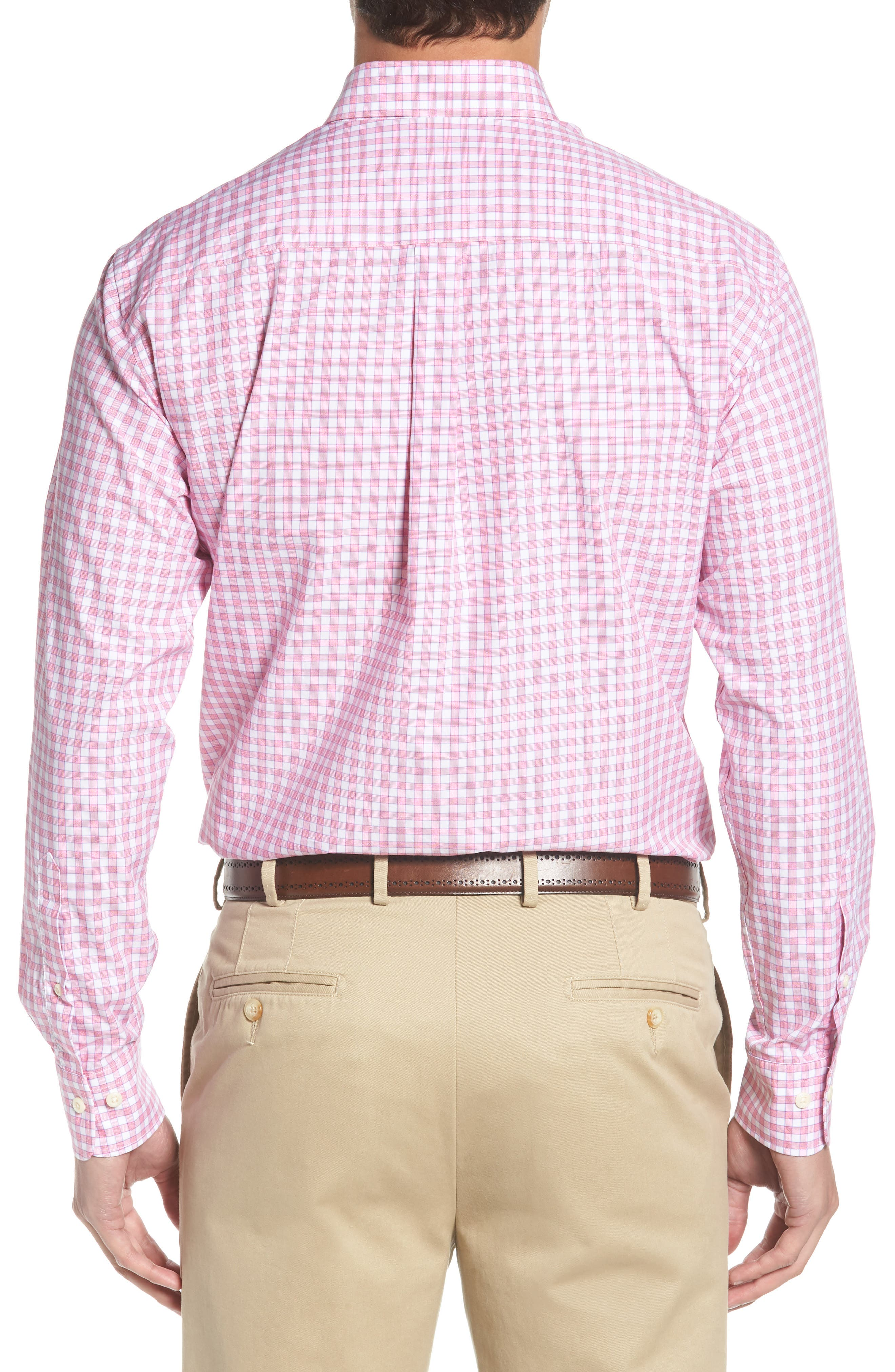 Crown Finish Marsh Regular Fit Check Sport Shirt,                             Alternate thumbnail 3, color,                             Mambo Pink