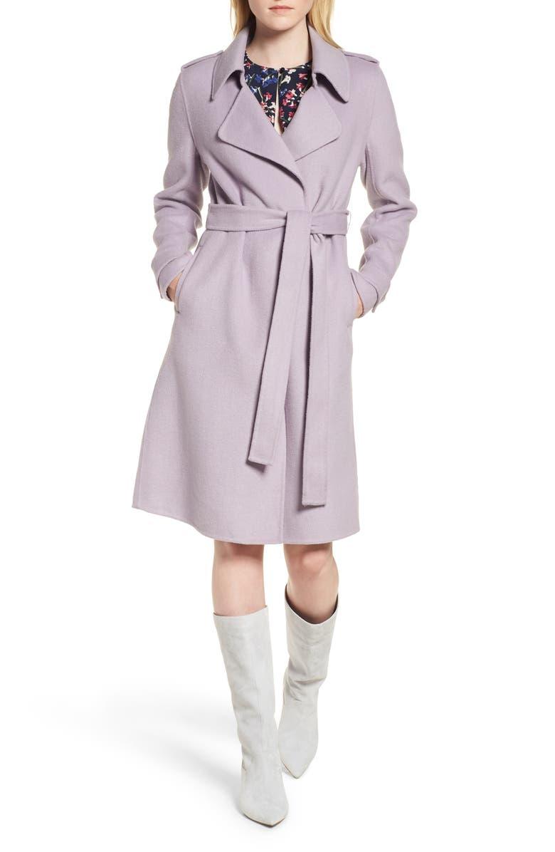 Double Face Wool Blend Wrap Front Coat