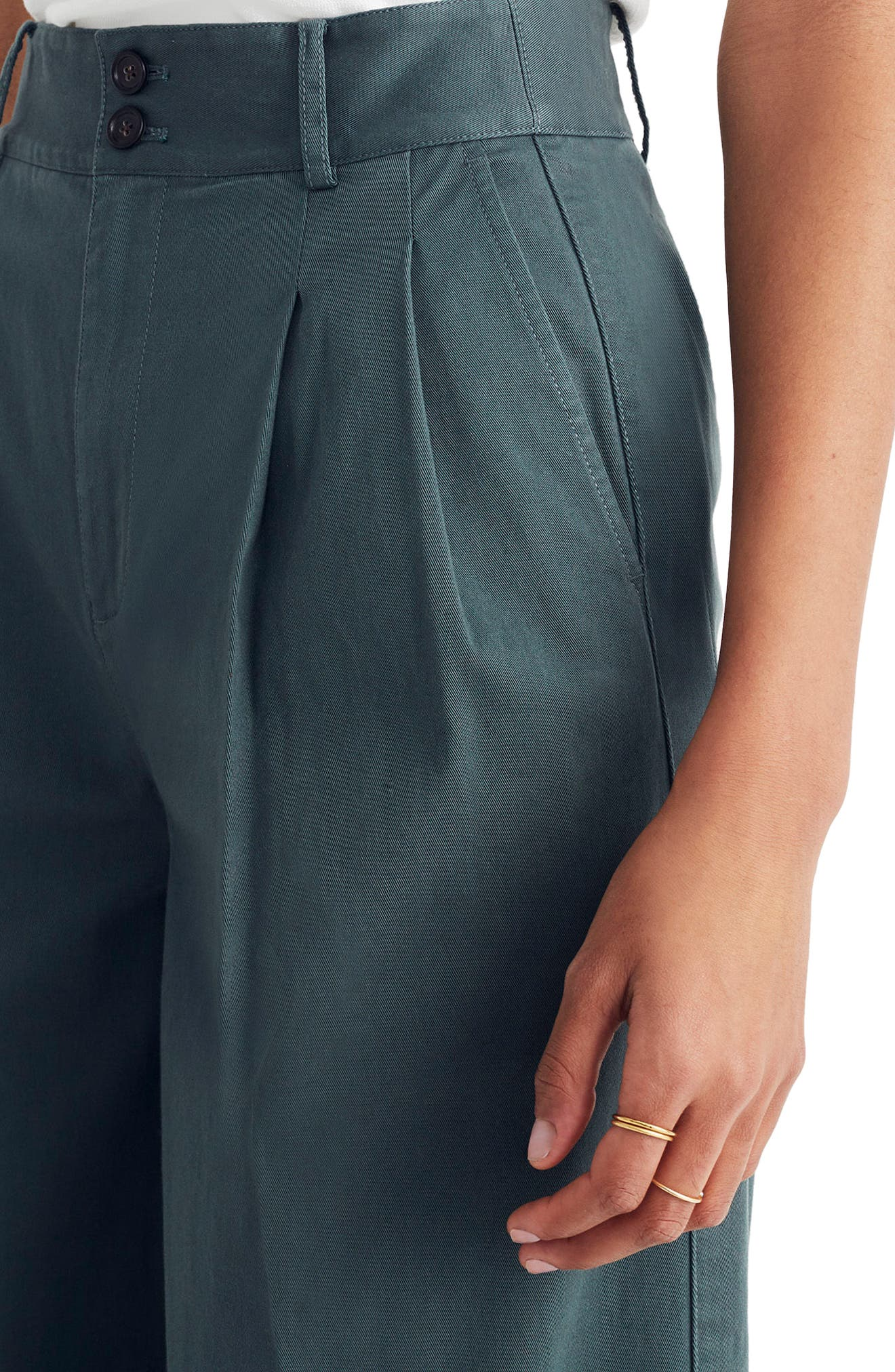 High Waist Crop Wide Leg Pants,                             Alternate thumbnail 3, color,                             Architect Green