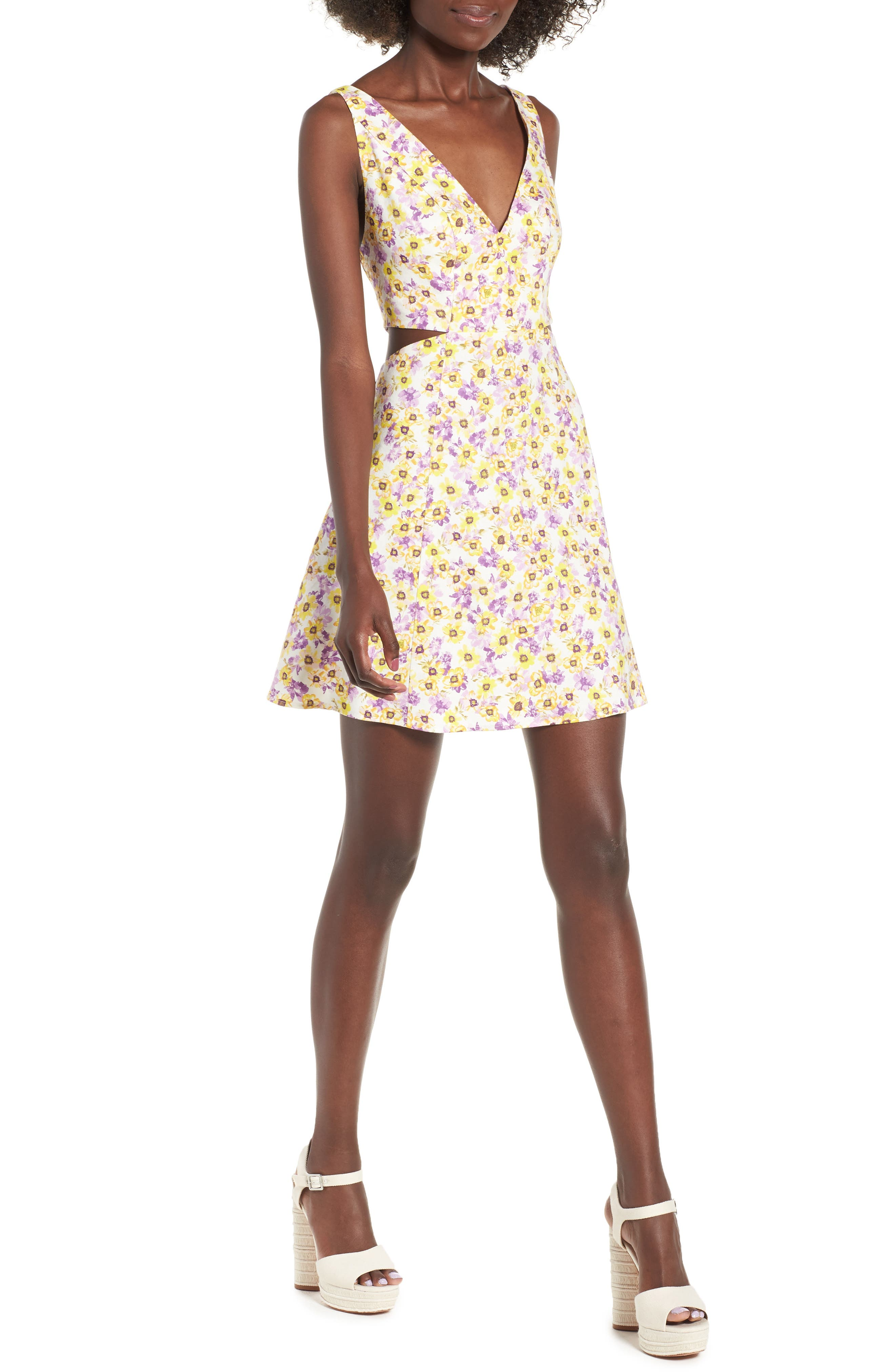 Rayanna Cutout Minidress,                             Main thumbnail 1, color,                             Yellow Garden