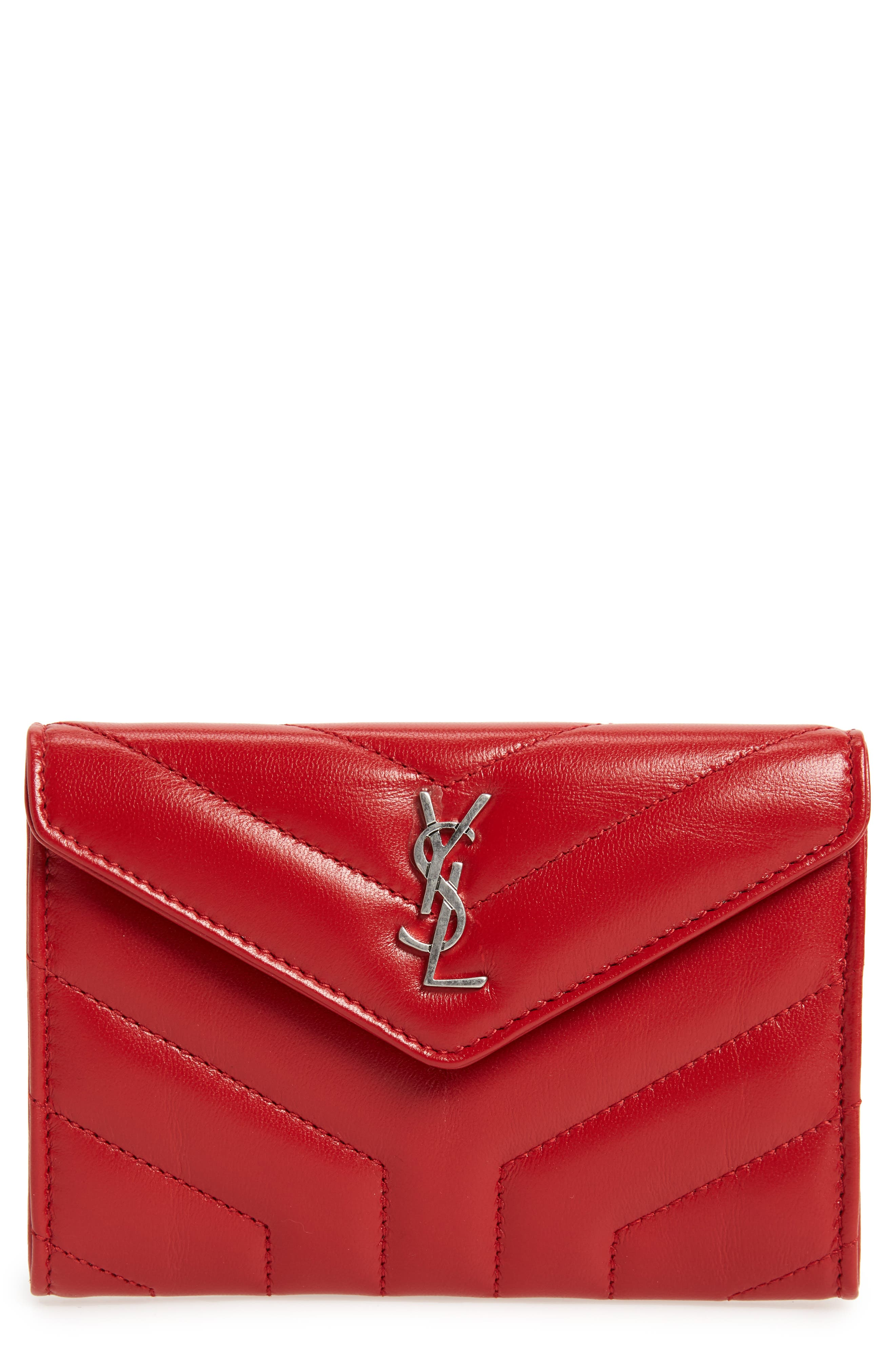 Small Loulou Matelassé Leather Wallet,                         Main,                         color, Rouge Eros