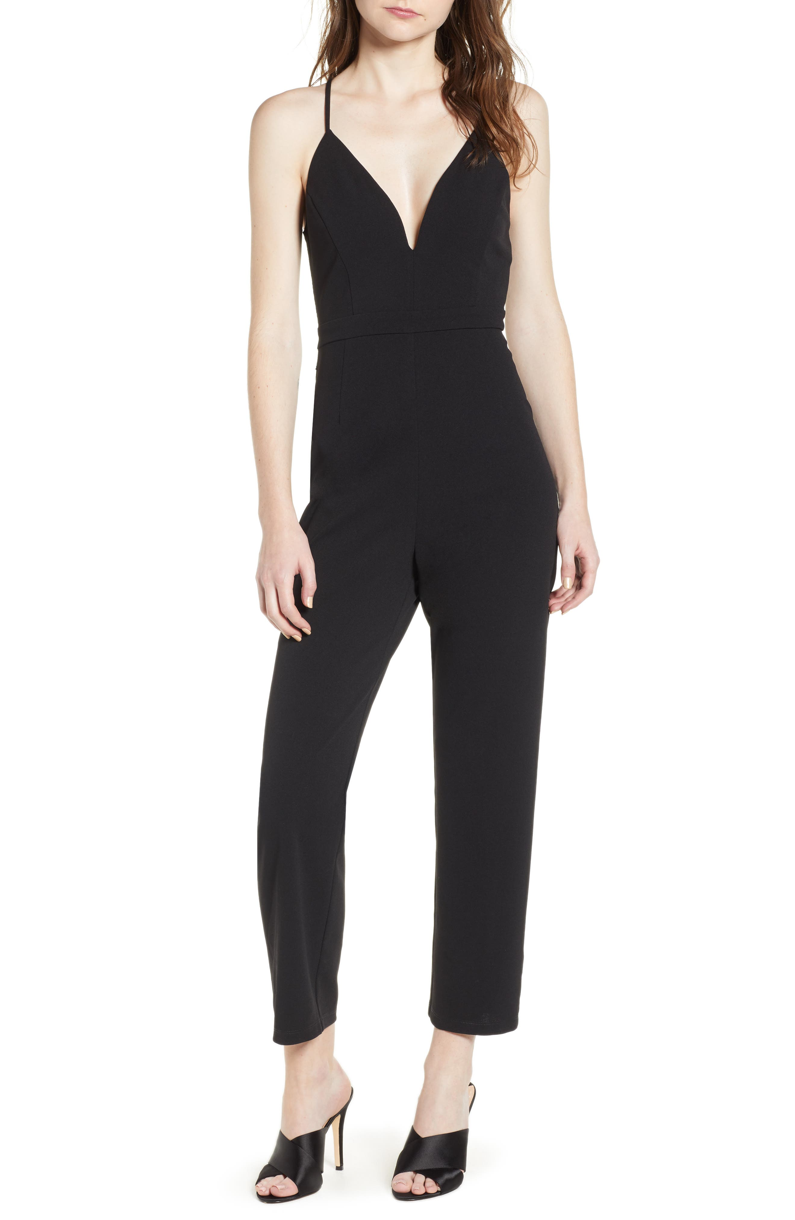 Love, Nicki Lew Lace Detail Jumpsuit,                         Main,                         color, Black