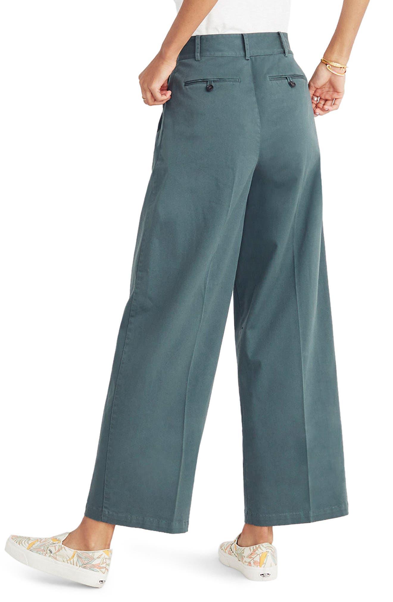 High Waist Crop Wide Leg Pants,                             Alternate thumbnail 2, color,                             Architect Green