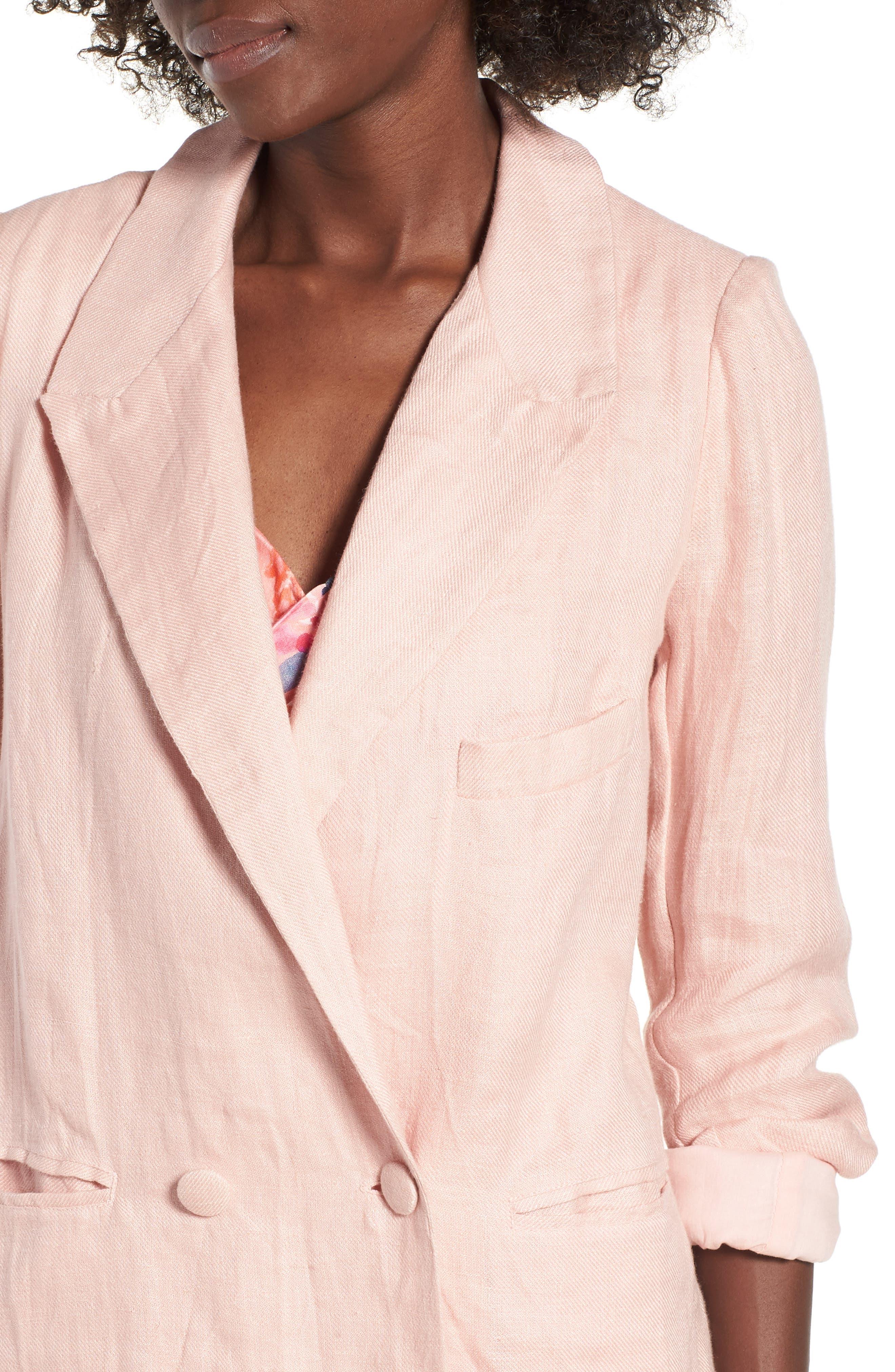 Fanning Stripe Blazer,                             Alternate thumbnail 4, color,                             Pink