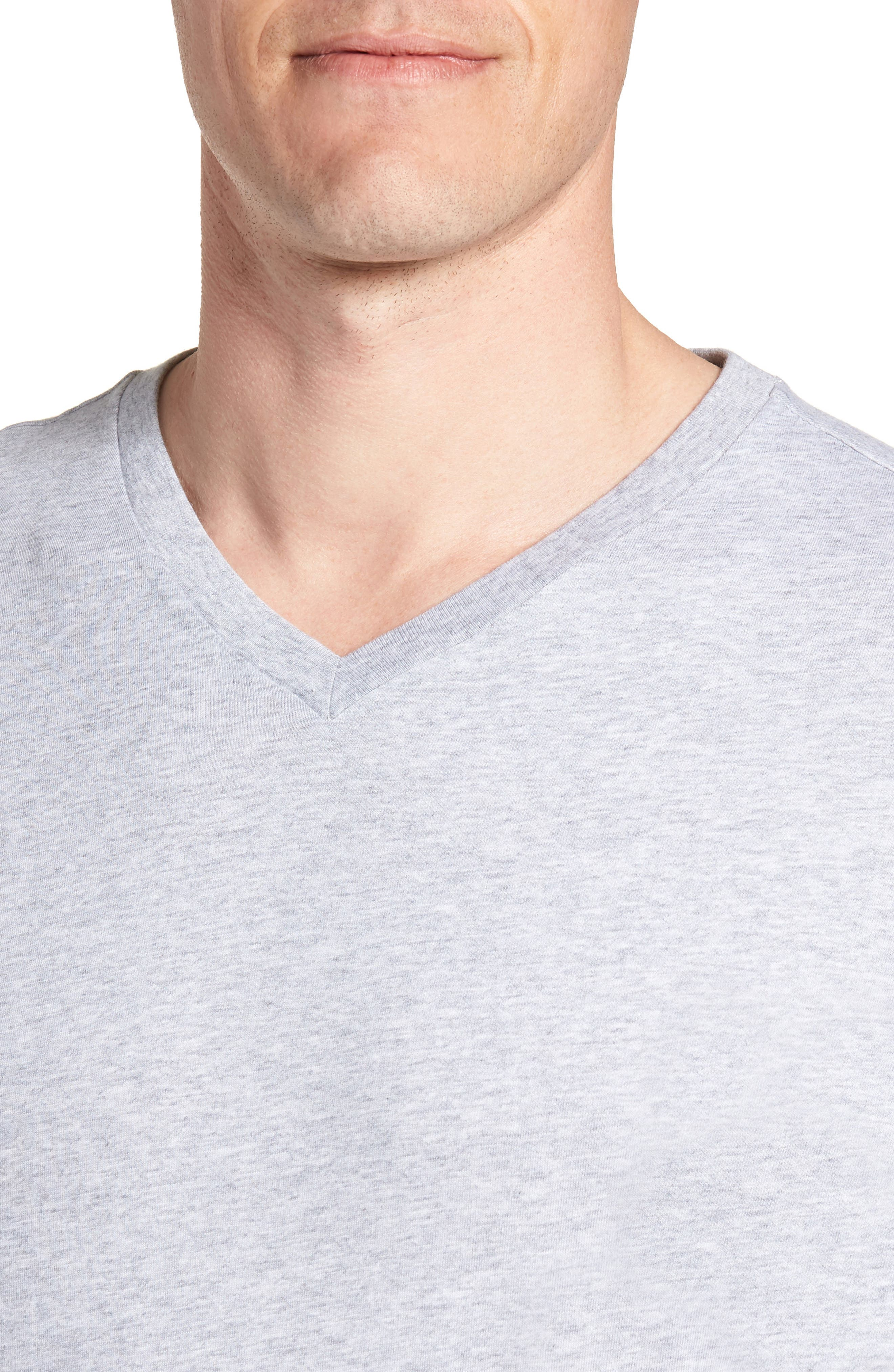 Assorted 3-Pack Supima<sup>®</sup> Cotton V-Neck T-Shirts,                             Alternate thumbnail 5, color,                             Black/ Grey/ White