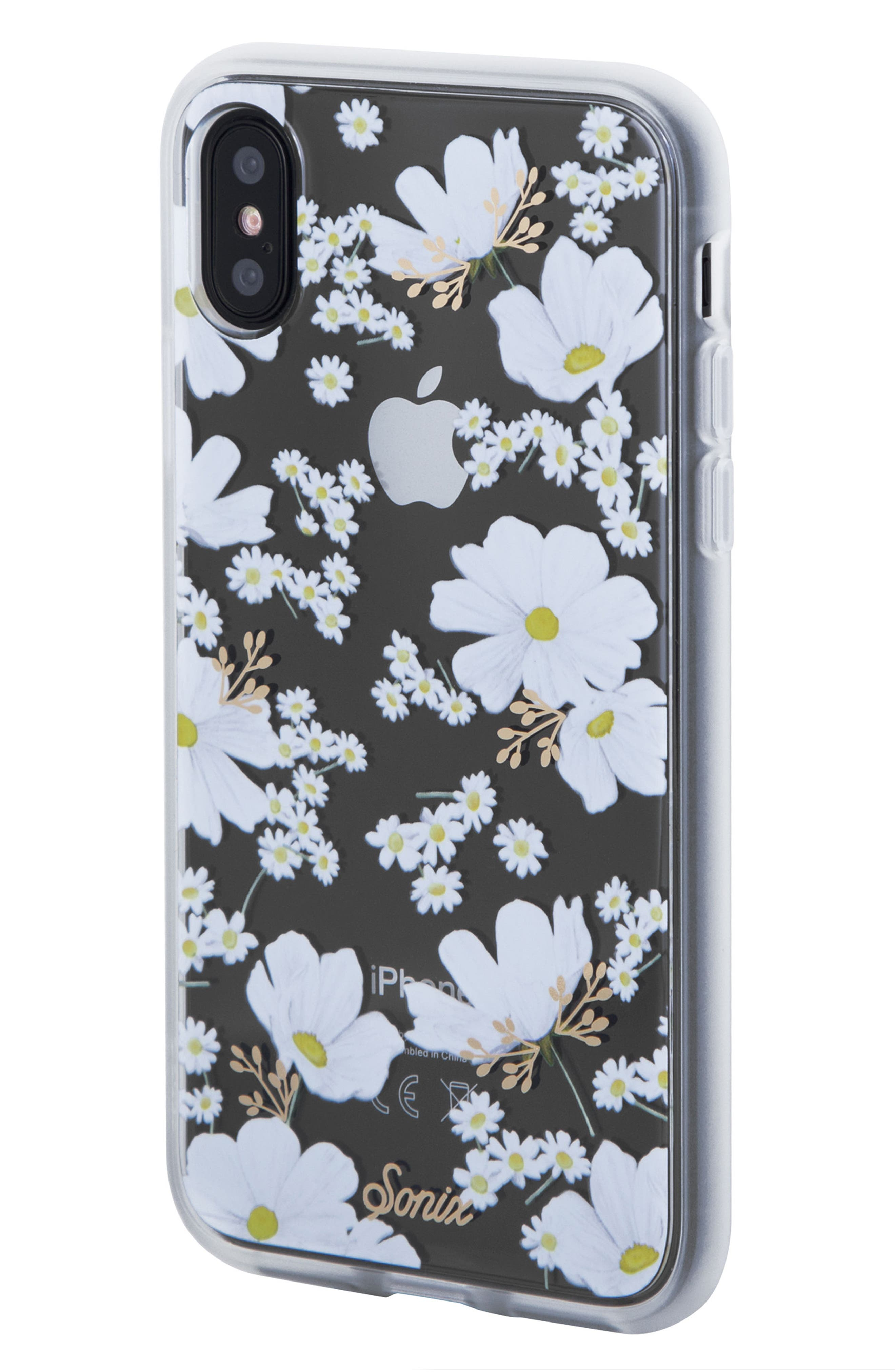 Ditsy Daisy iPhone X Case,                             Alternate thumbnail 2, color,                             White/ Gold