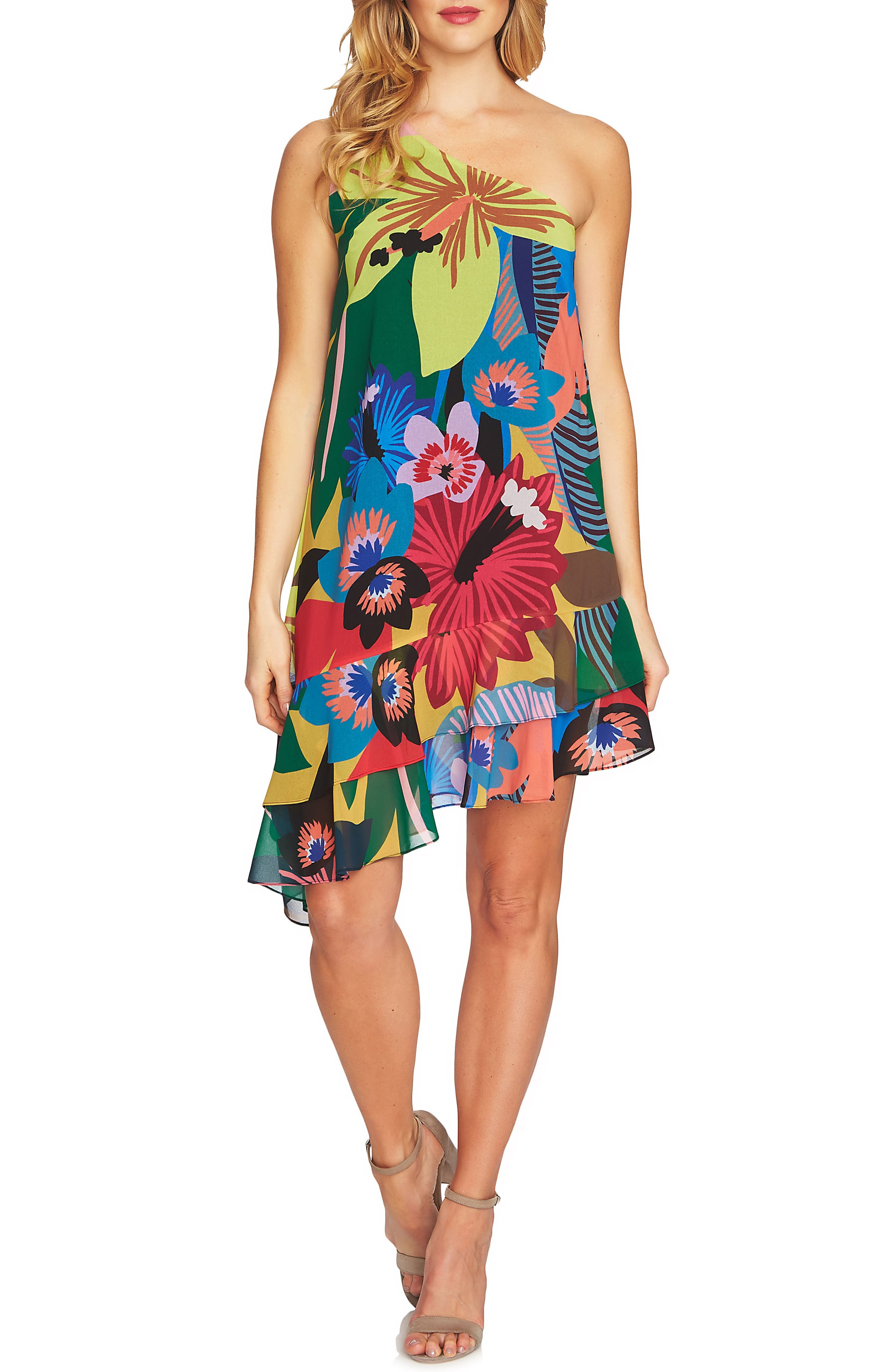 CeCe Jungle Splendor One-Shoulder Shift Dress