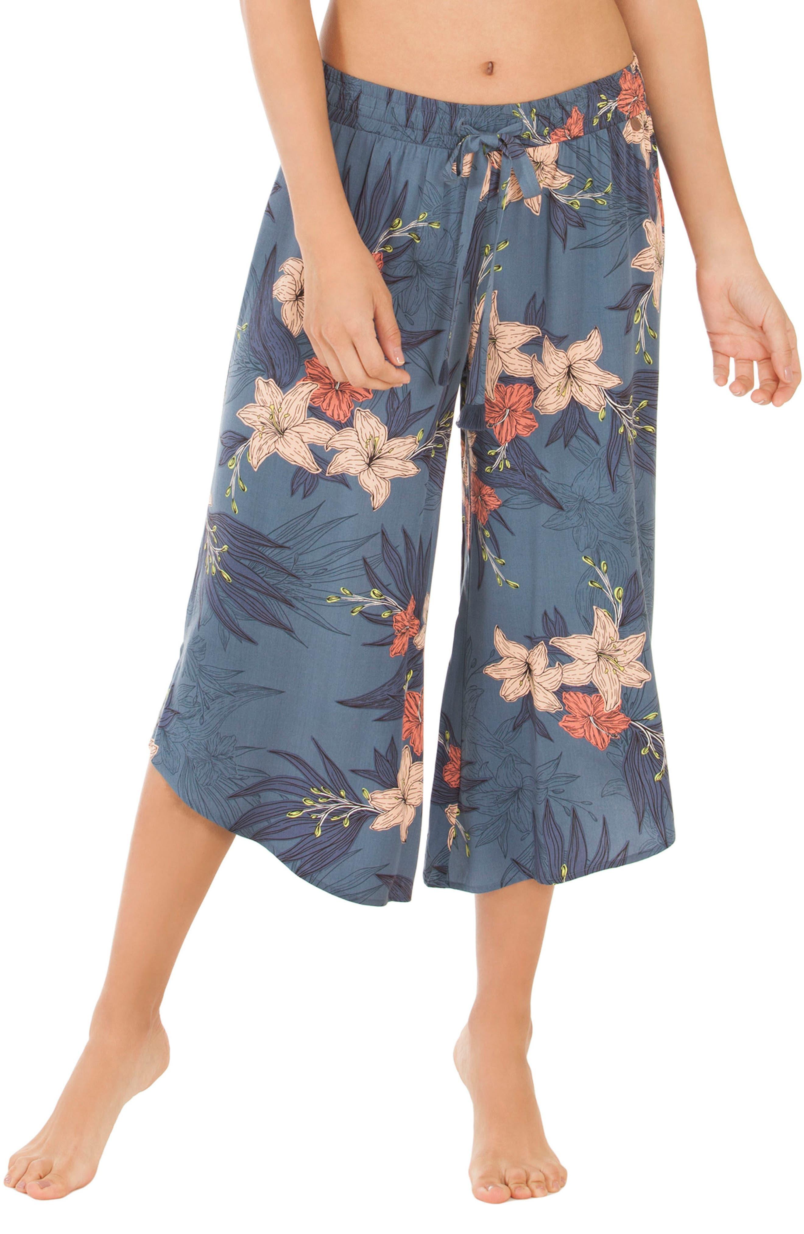 Floral Crop Pajama Pants,                             Main thumbnail 1, color,                             Blue Floral