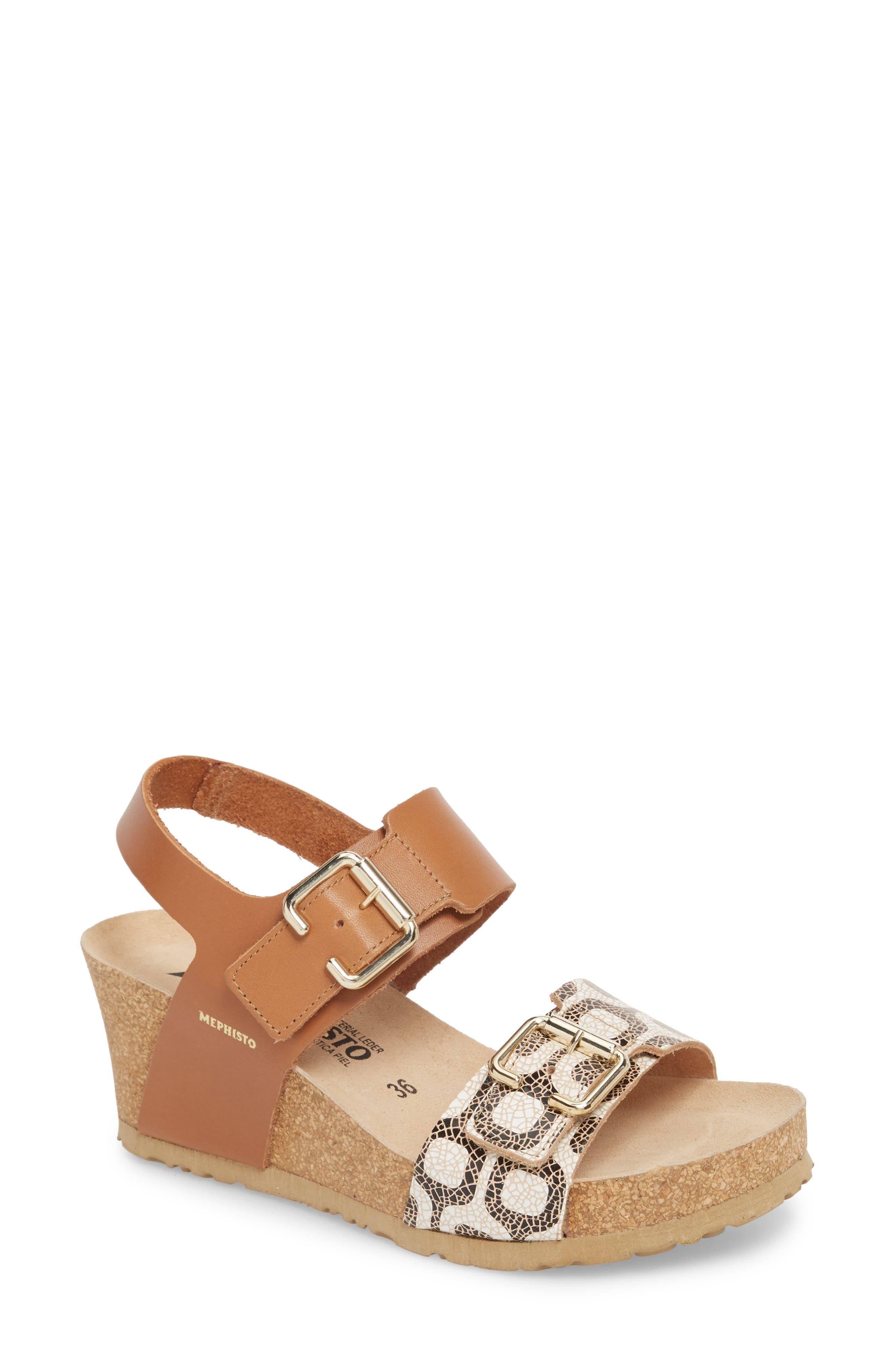 Lissandra Platform Wedge Sandal,                             Main thumbnail 1, color,                             Camel