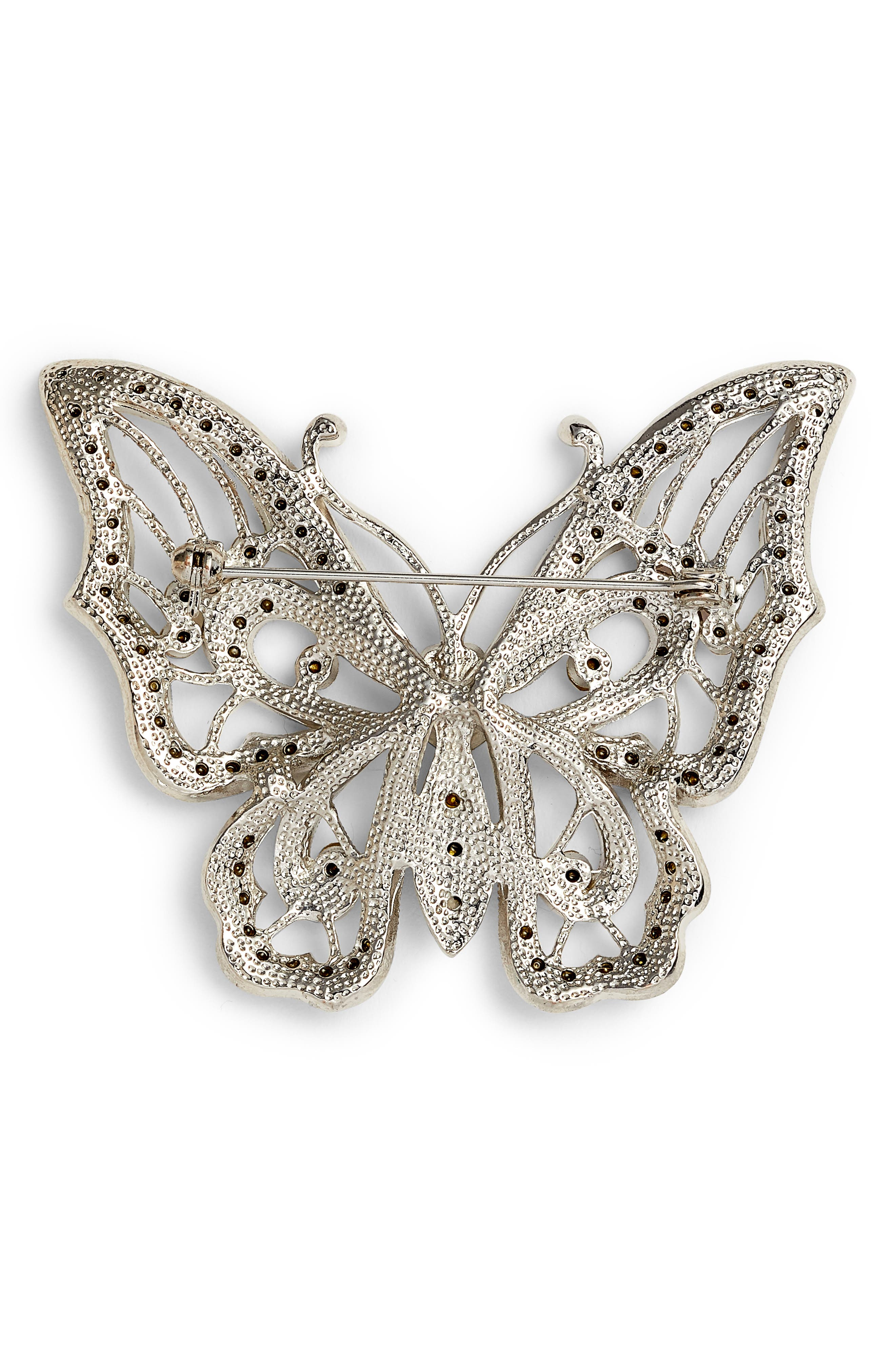 Openwork Pavé Butterfly Brooch,                             Alternate thumbnail 2, color,                             Crystal/ Silver