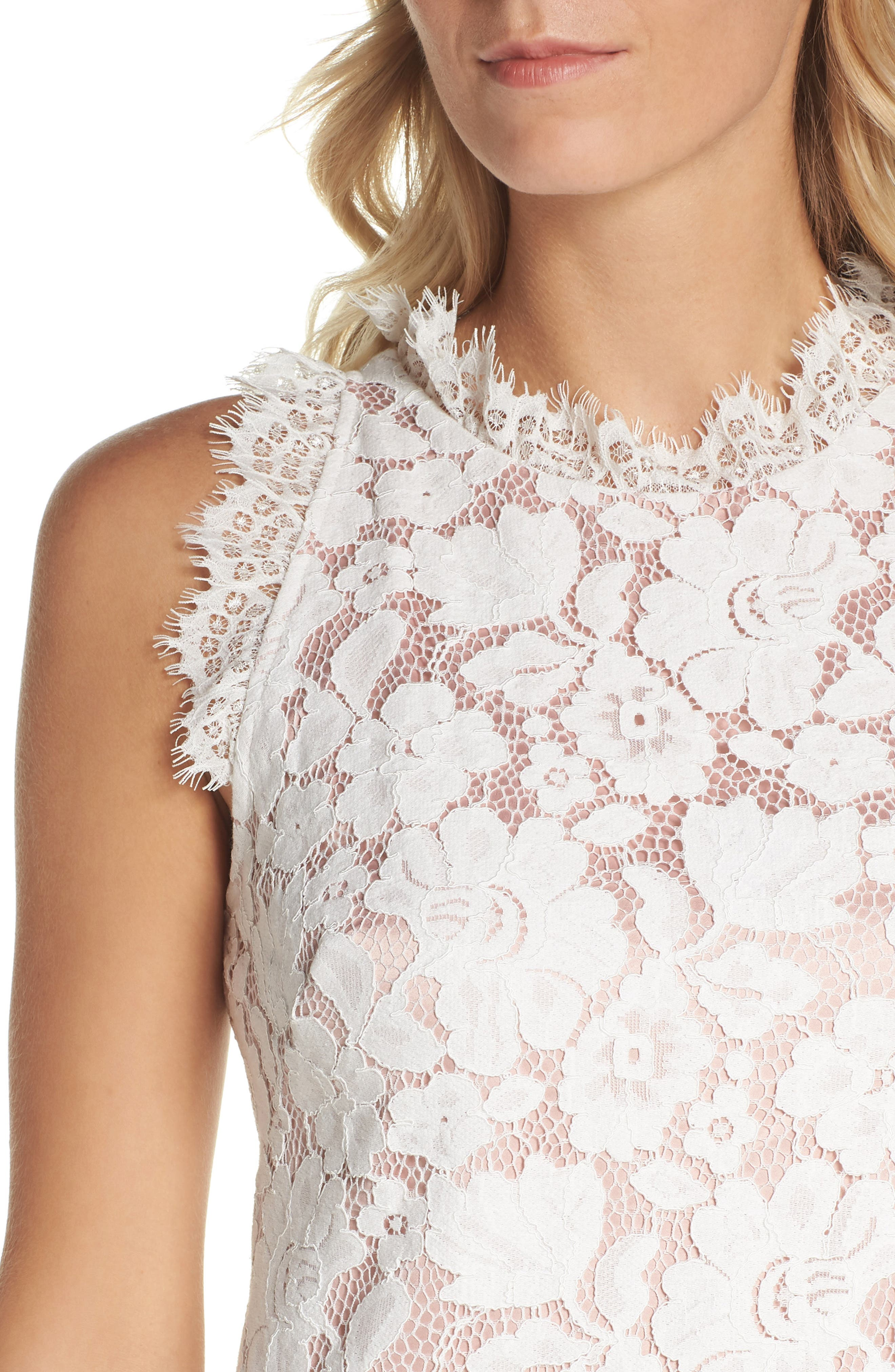 Sleeveless Eyelash Lace Sheath Dress,                             Alternate thumbnail 4, color,                             Cream