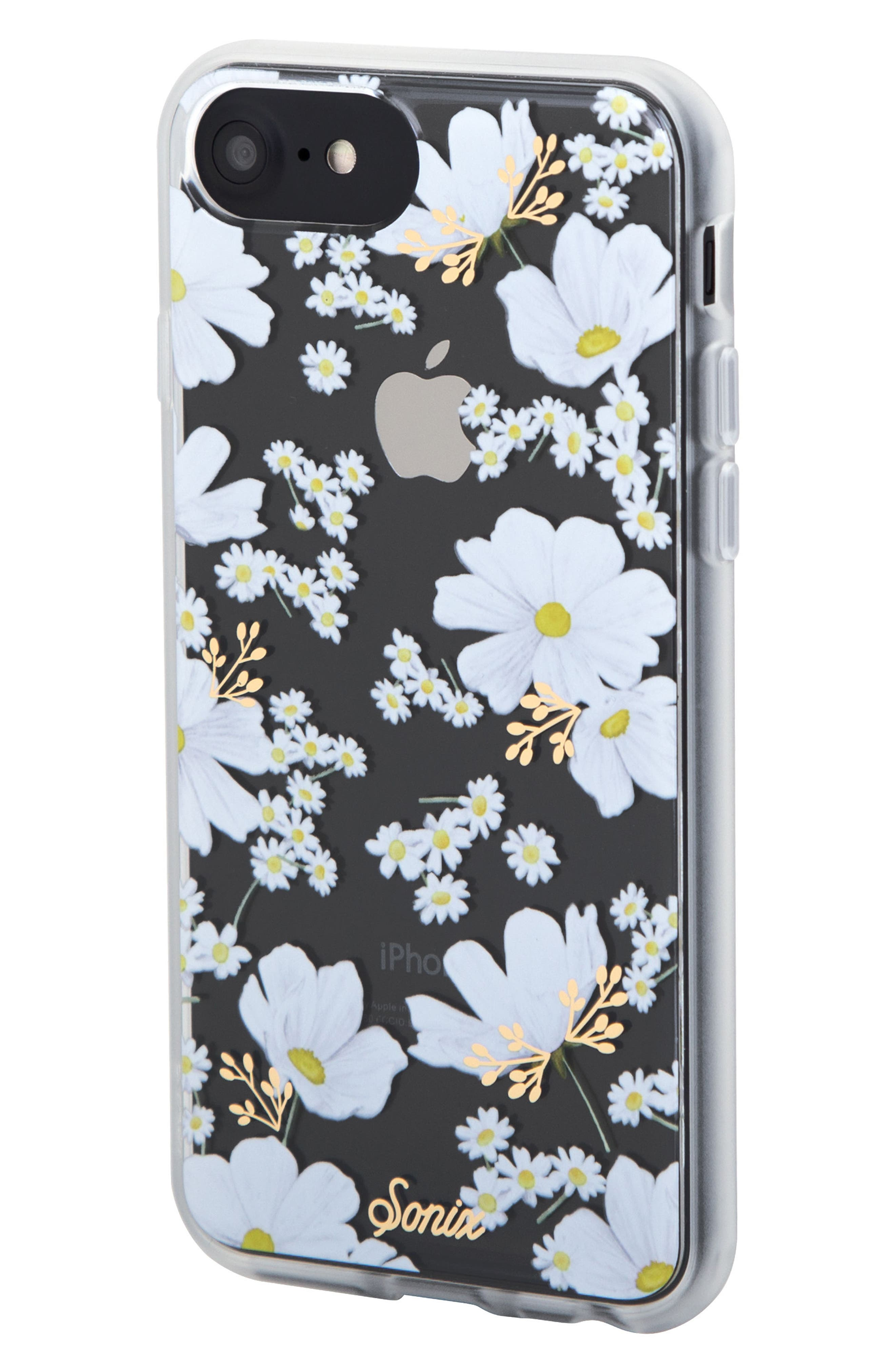 Ditsy Daisy iPhone 6 /6S/7/8 & 6/6s7/8 Plus Case,                             Alternate thumbnail 4, color,                             White/ Gold