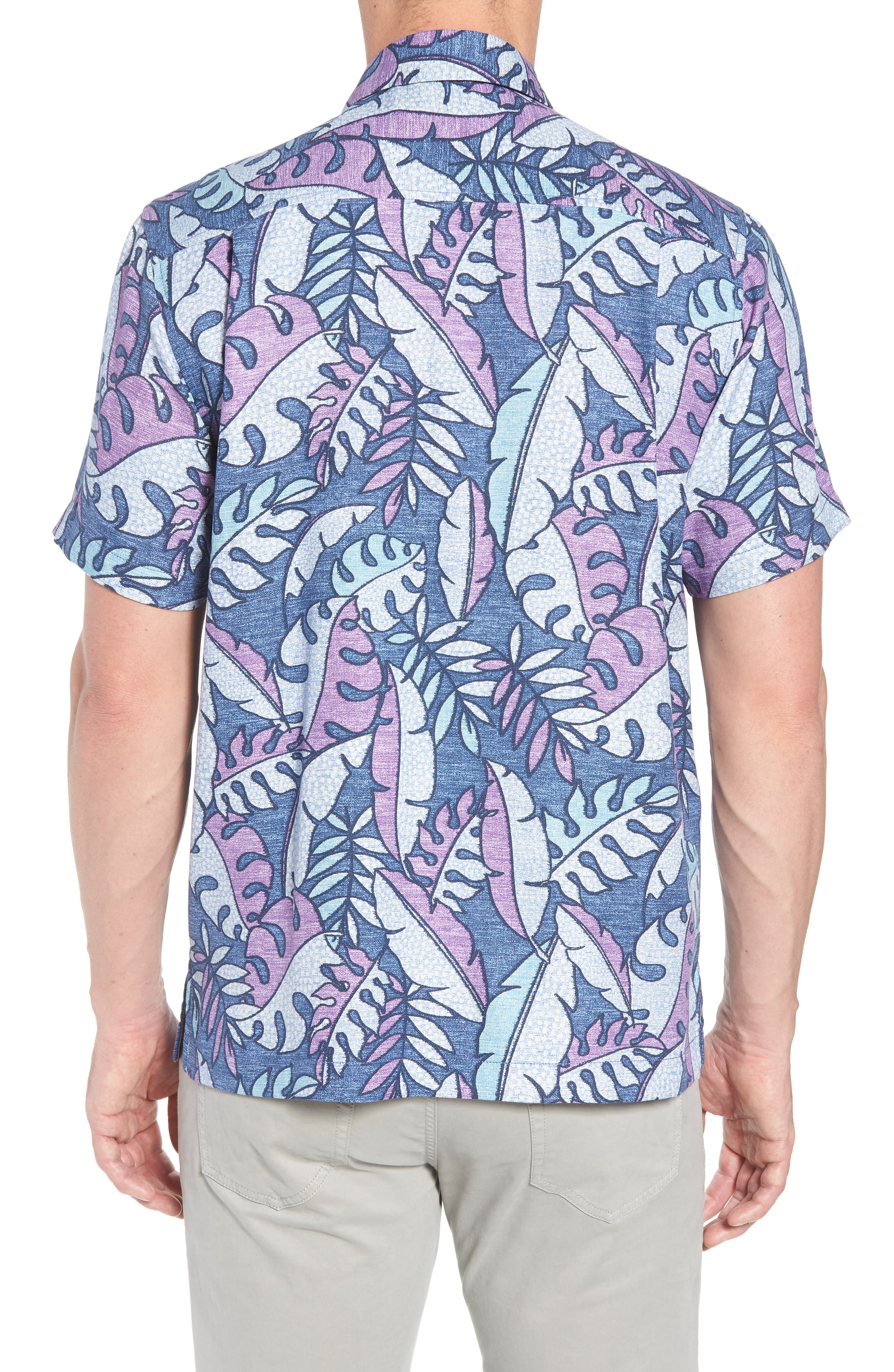 Mateo Fronds Silk Blend Camp Shirt,                             Alternate thumbnail 3, color,                             Ocean Deep