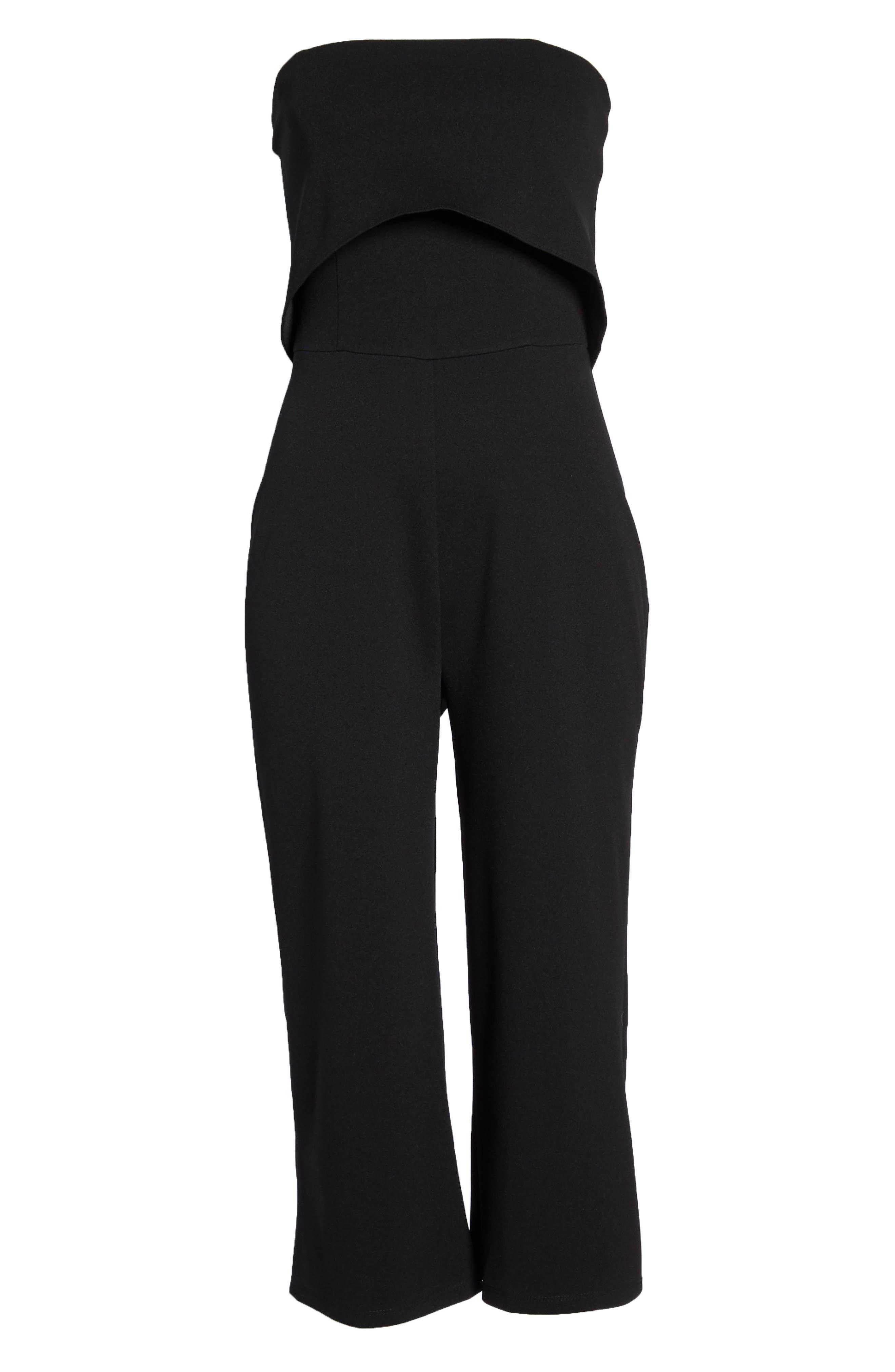 Strapless Culotte Jumpsuit,                             Alternate thumbnail 7, color,                             Black