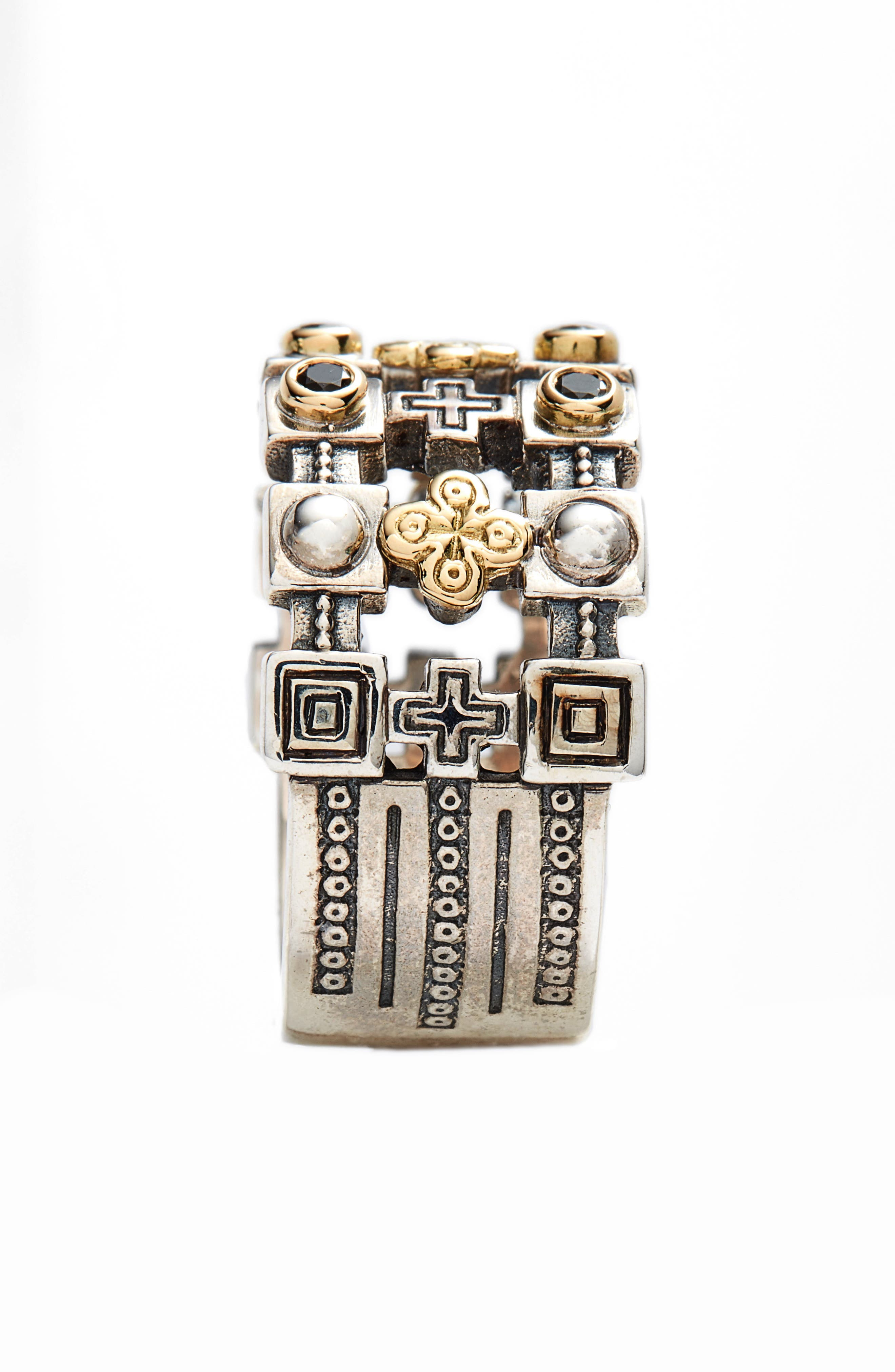 Stavros Openwork Wide Ring,                             Alternate thumbnail 2, color,                             Silver/ Gold/ Spinel