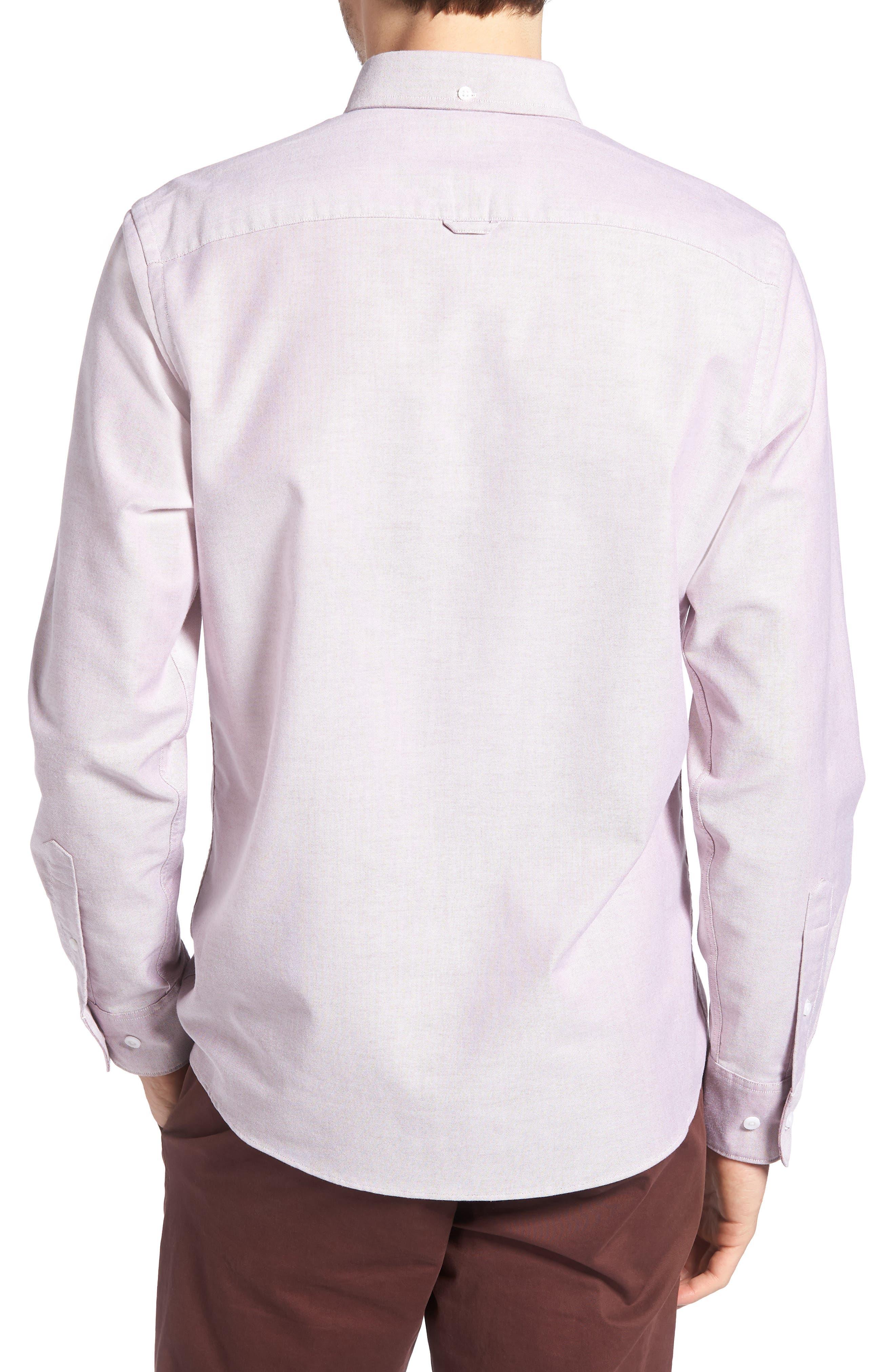 Trim Fit Washed Oxford Shirt,                             Alternate thumbnail 3, color,                             Burgundy London Oxford