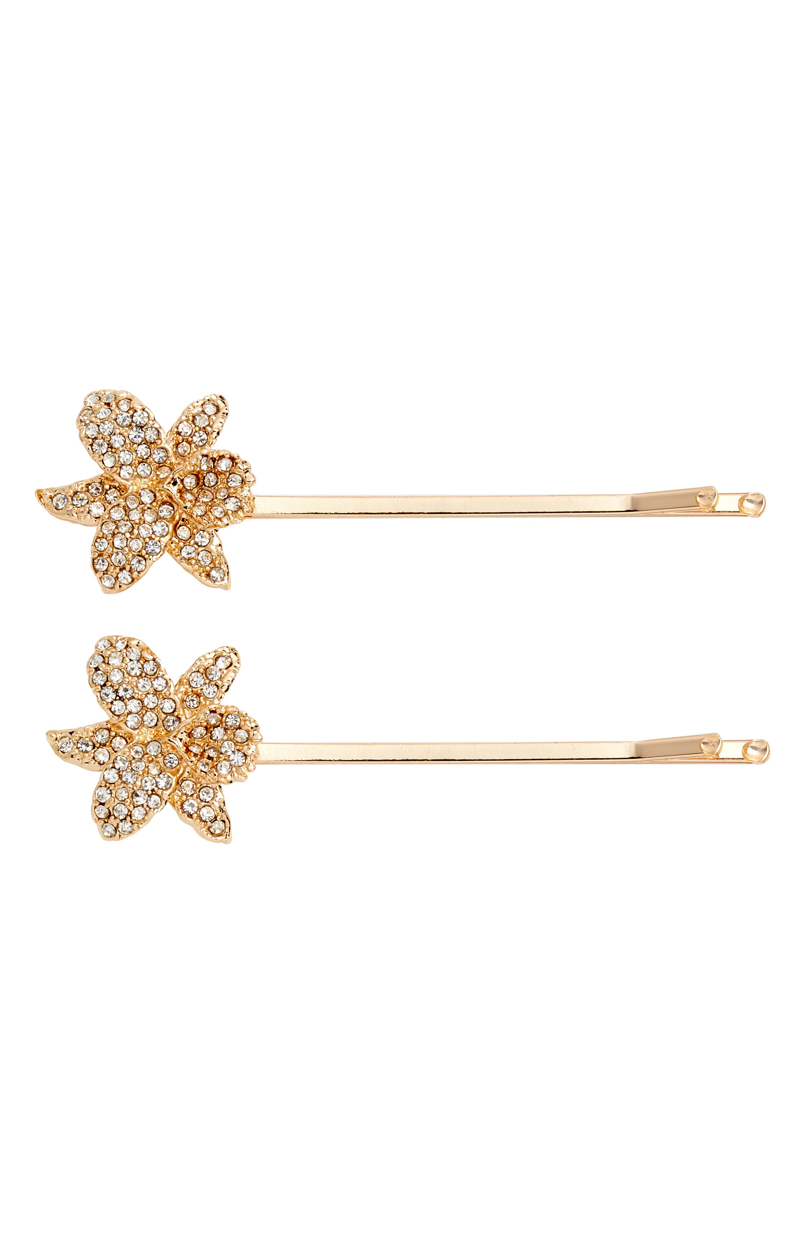 Small Orchid Bobby Pins,                         Main,                         color, White/ Rose Gold