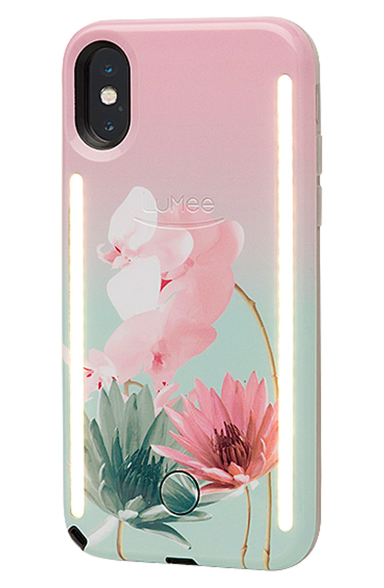 Duo LED Lighted iPhone X Case,                             Alternate thumbnail 2, color,                             Desert Flower