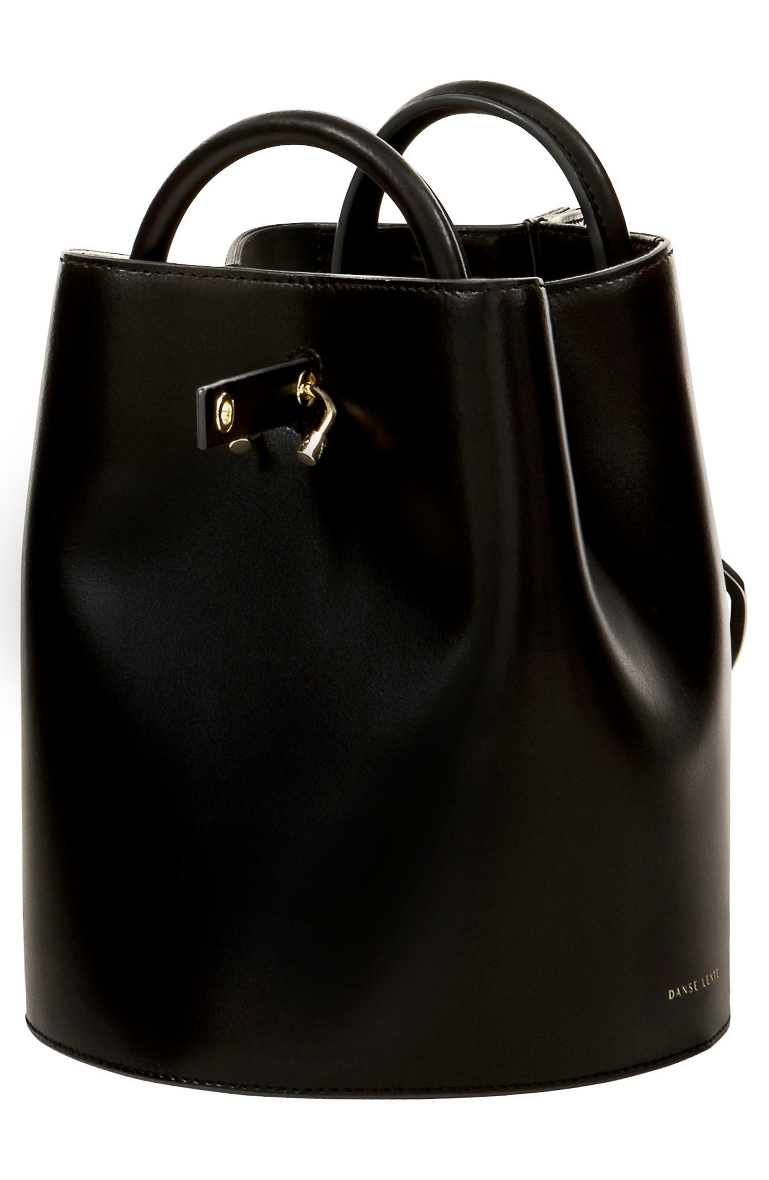 Bobbi Leather Tote,                             Alternate thumbnail 3, color,                             Black
