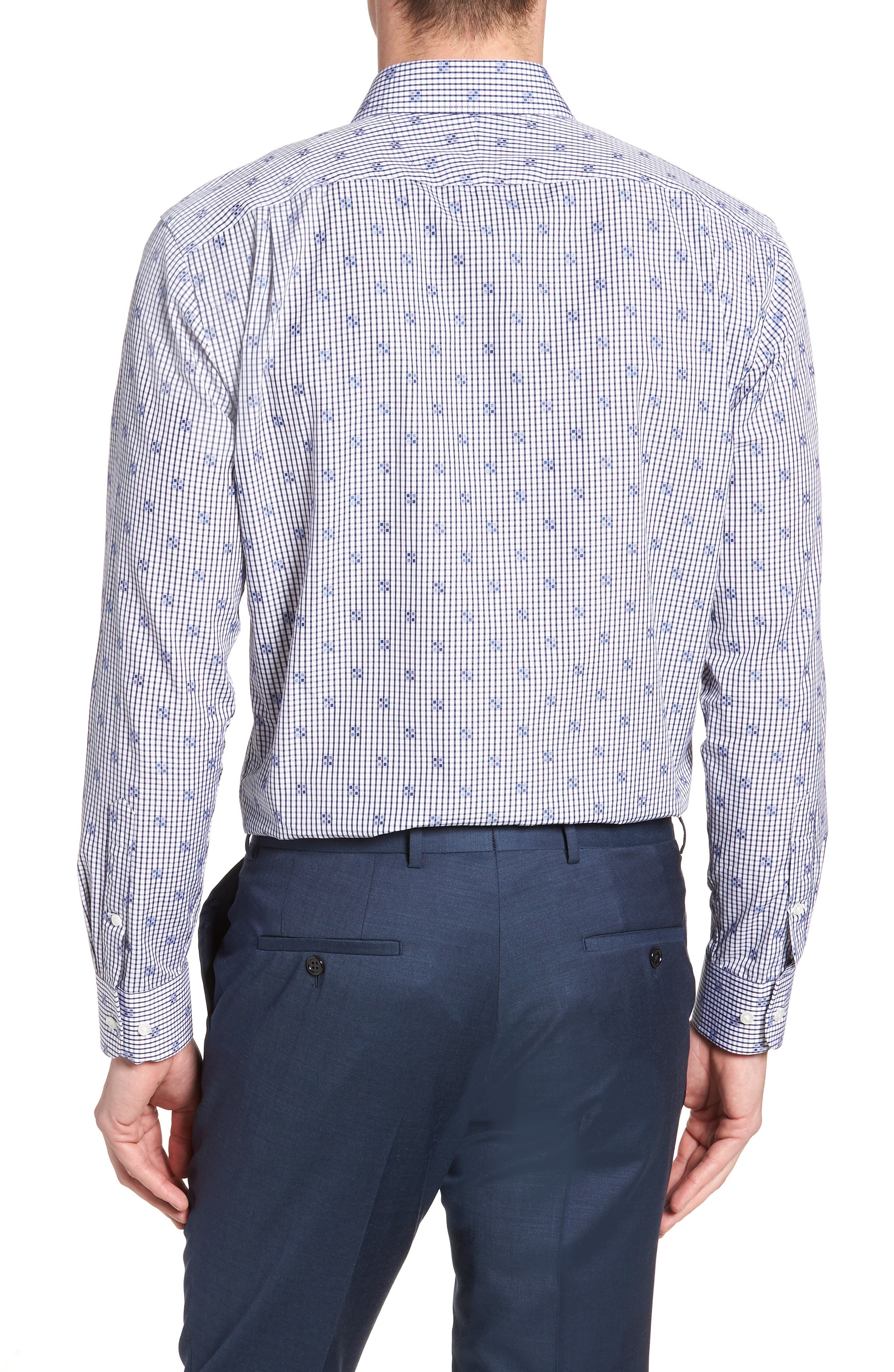 Trim Fit Check Dress Shirt,                             Alternate thumbnail 3, color,                             Navy Iris