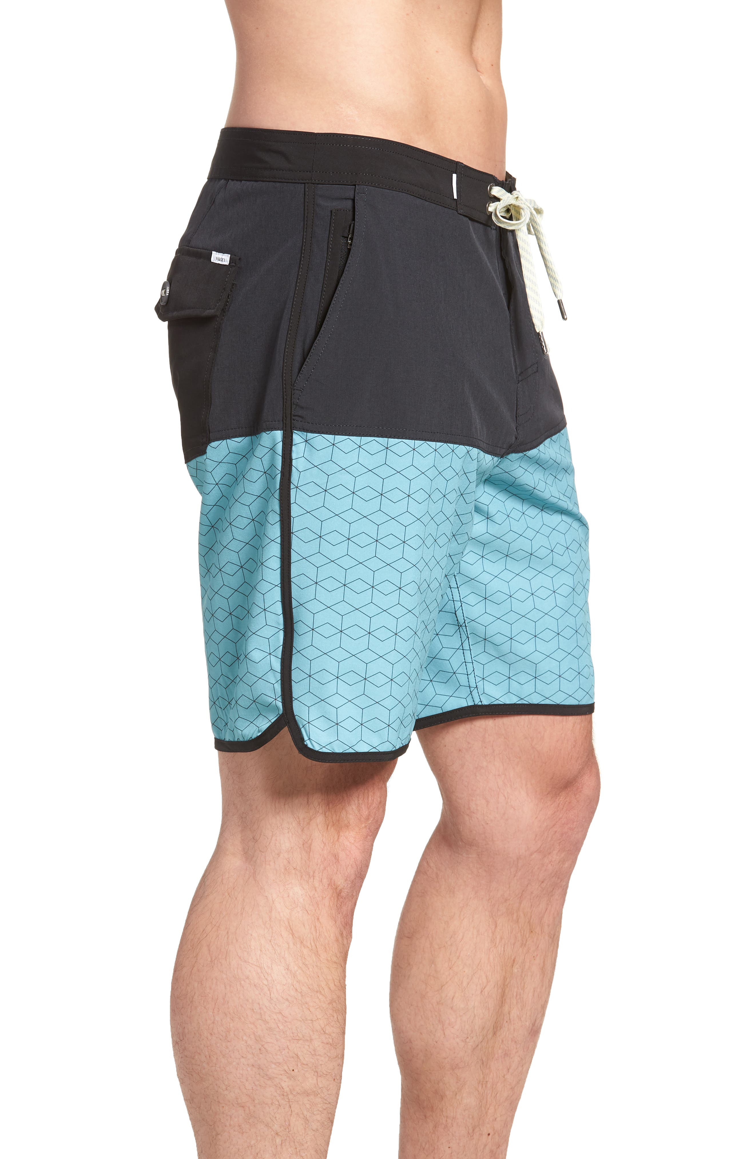 Cruise Hybrid Board Shorts,                             Alternate thumbnail 3, color,                             Glacier Hex Block