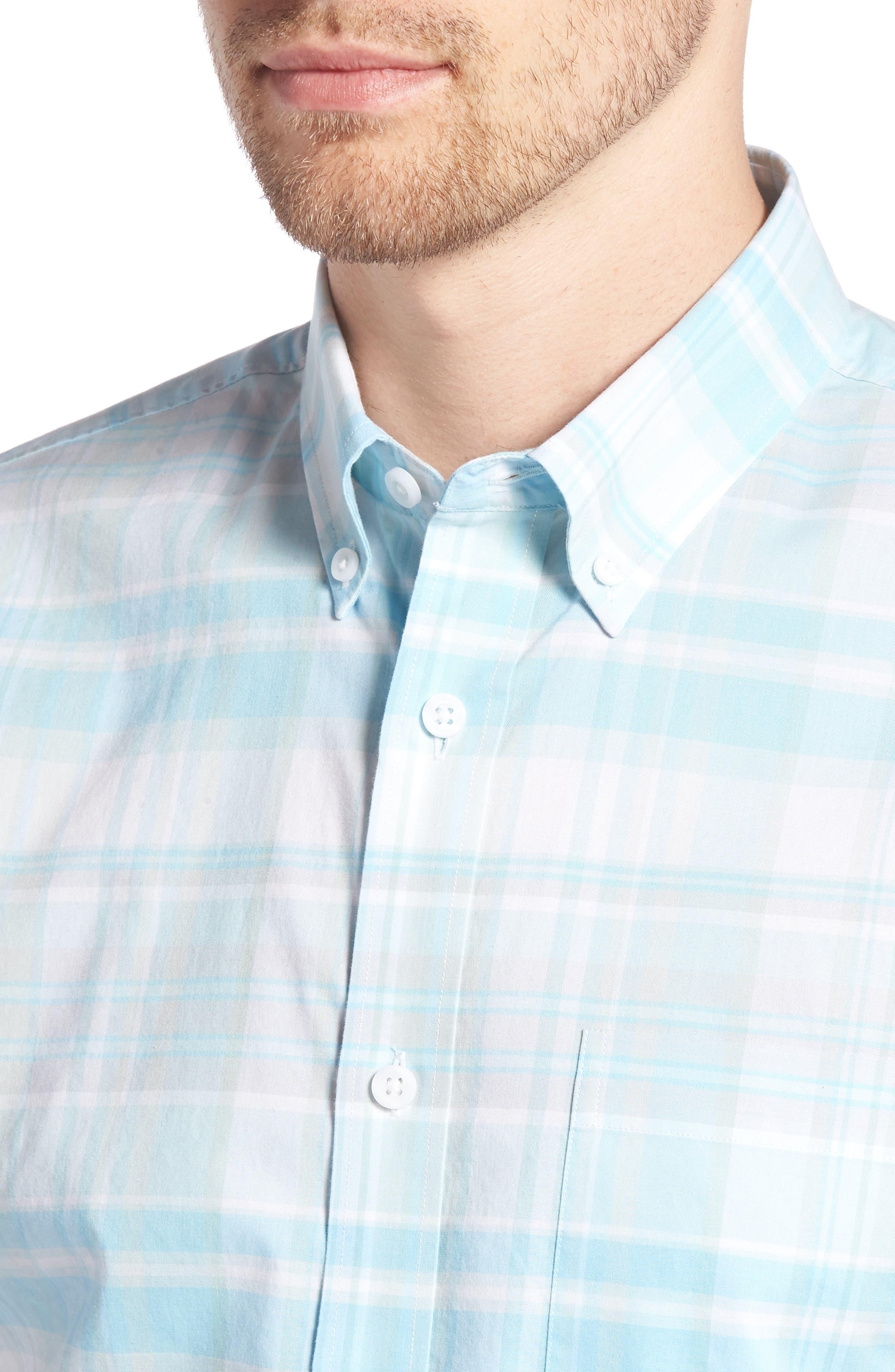 Trim Fit Plaid Sport Shirt,                             Alternate thumbnail 2, color,                             Blue Orydalis Teal Plaid