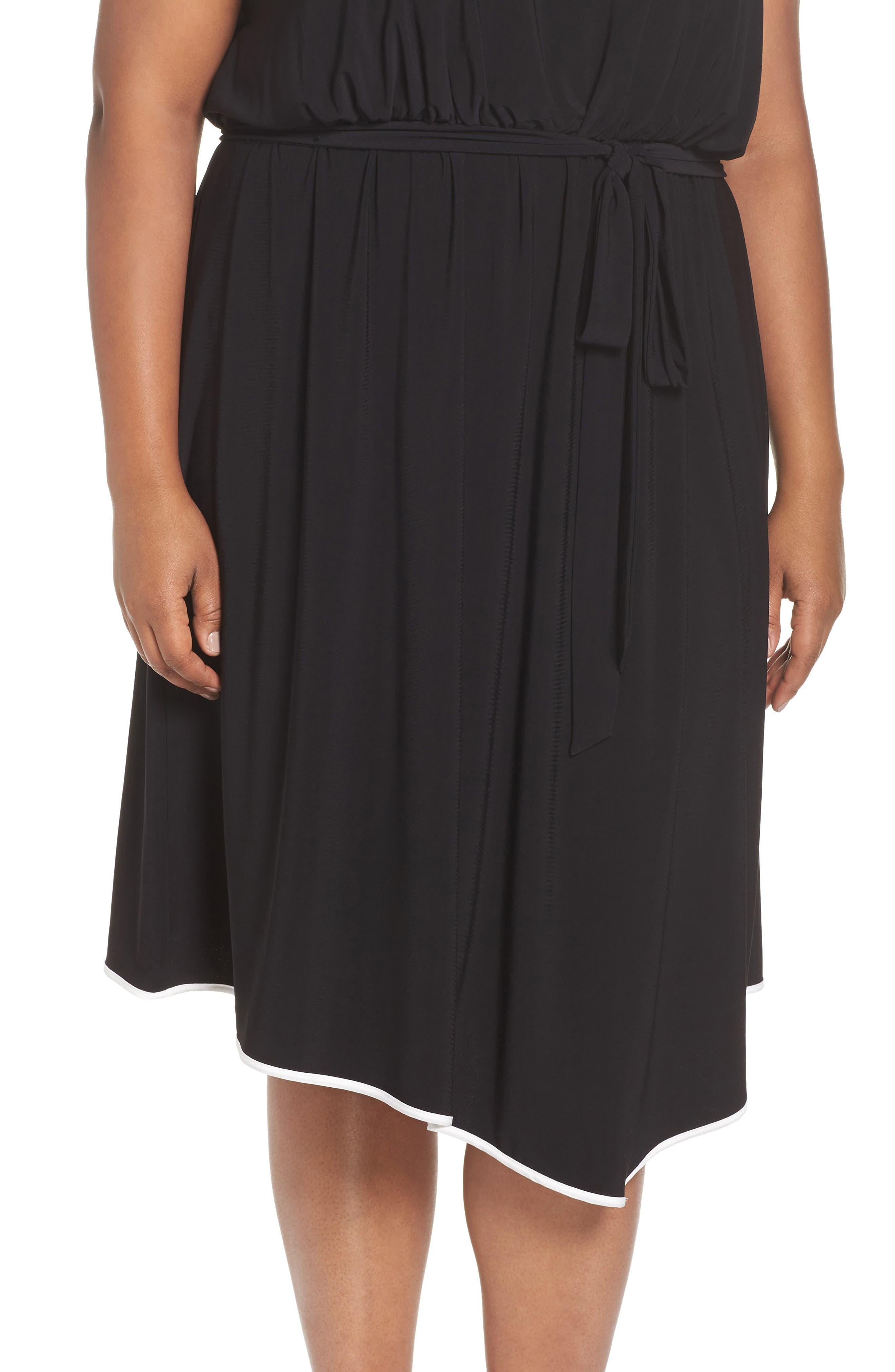 Matte Jersey Handkerchief Hem Dress,                             Alternate thumbnail 4, color,                             Black