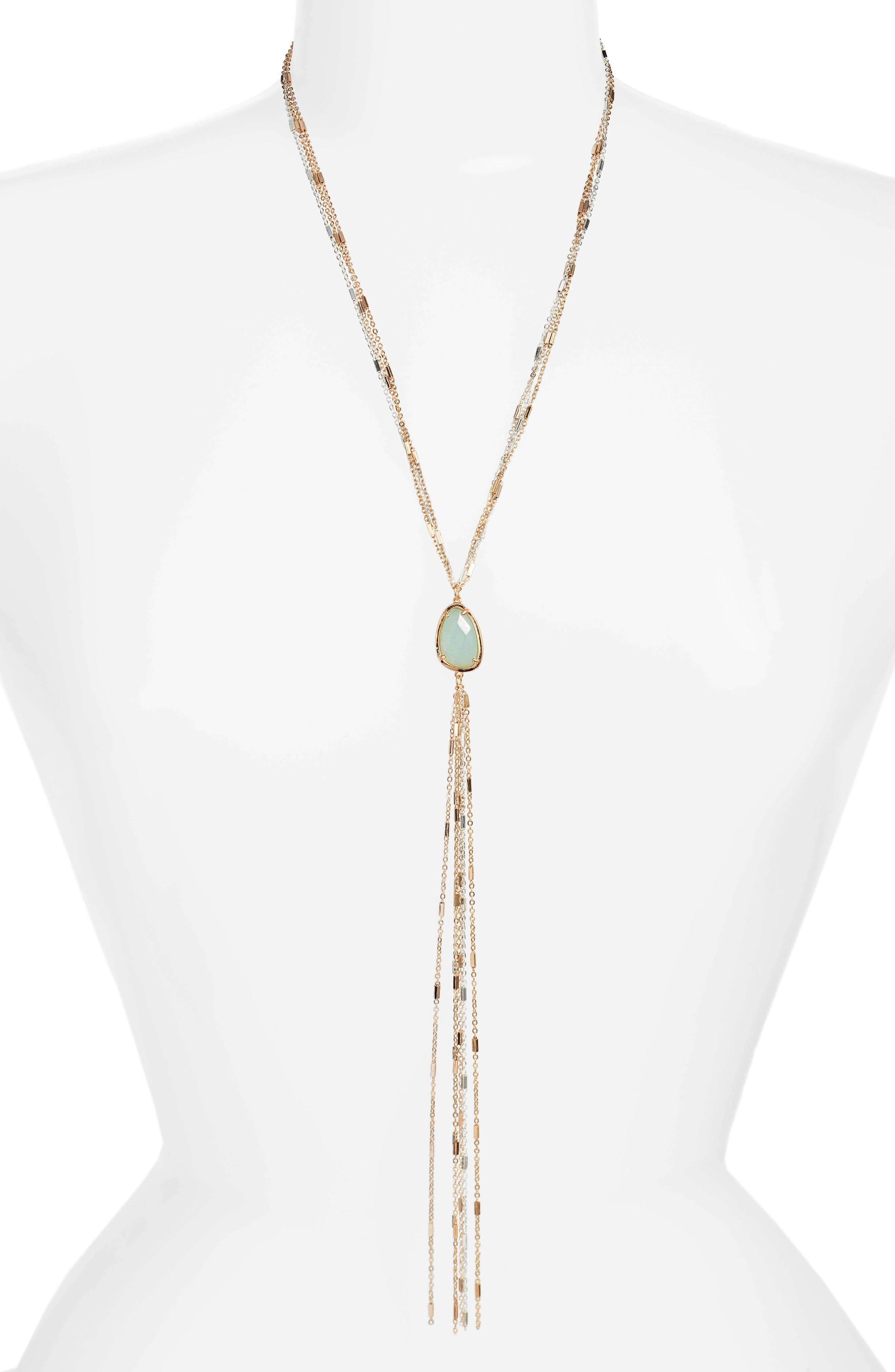 Stone Y-Necklace,                         Main,                         color, Gold/ Silver