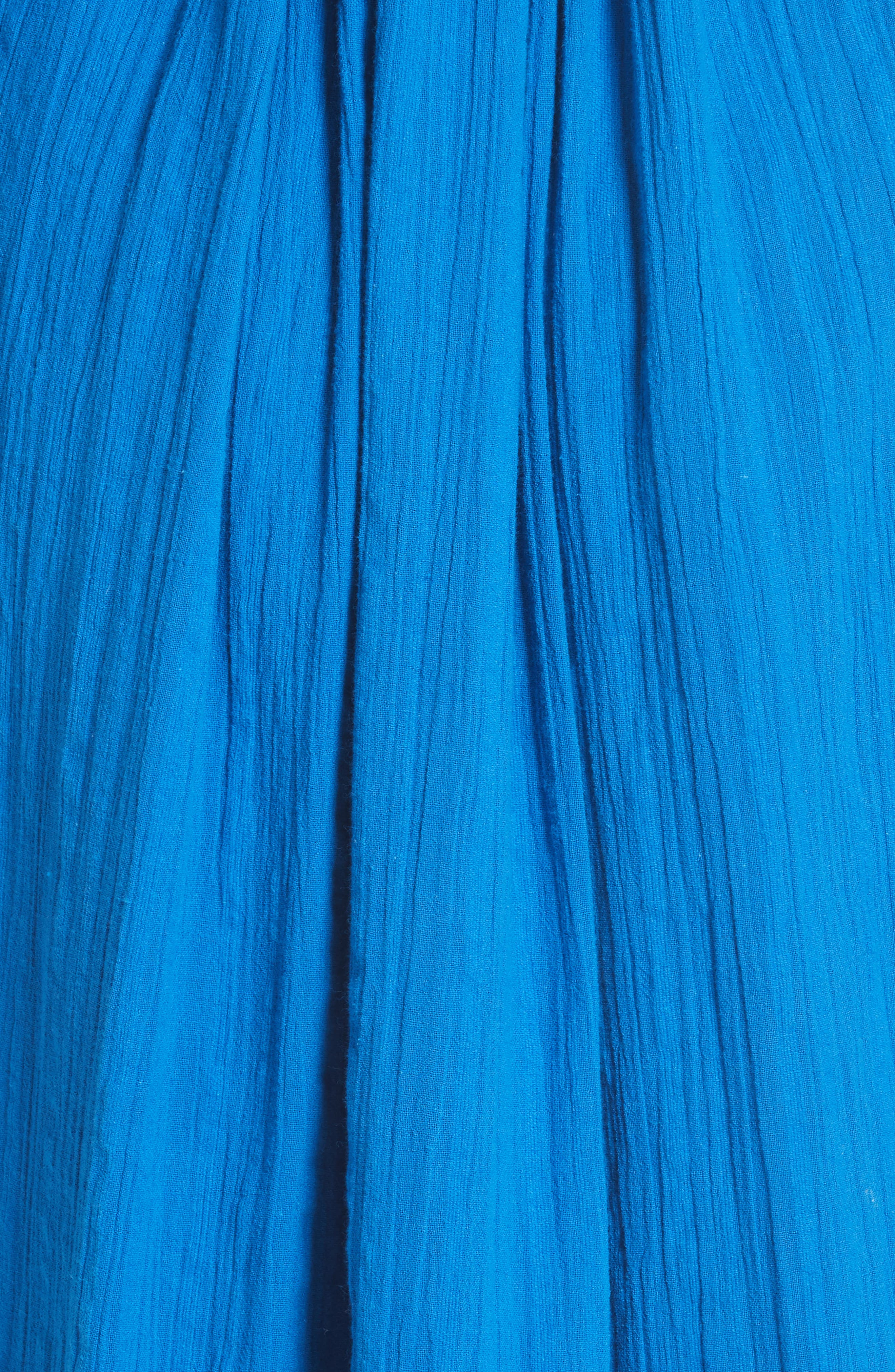 Filia Embroidered Midi Dress,                             Alternate thumbnail 5, color,                             Cobalt