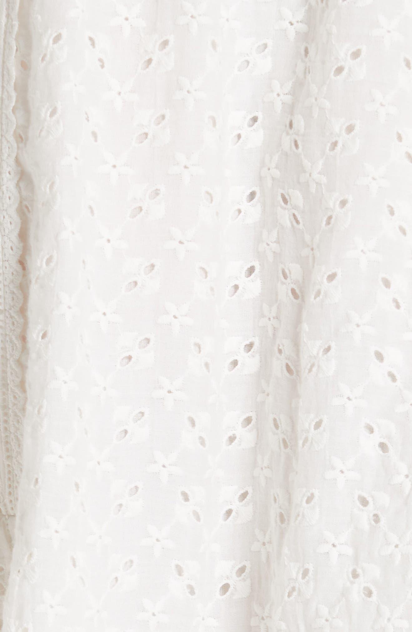 Edwina Eyelet Dress,                             Alternate thumbnail 5, color,                             Blanc