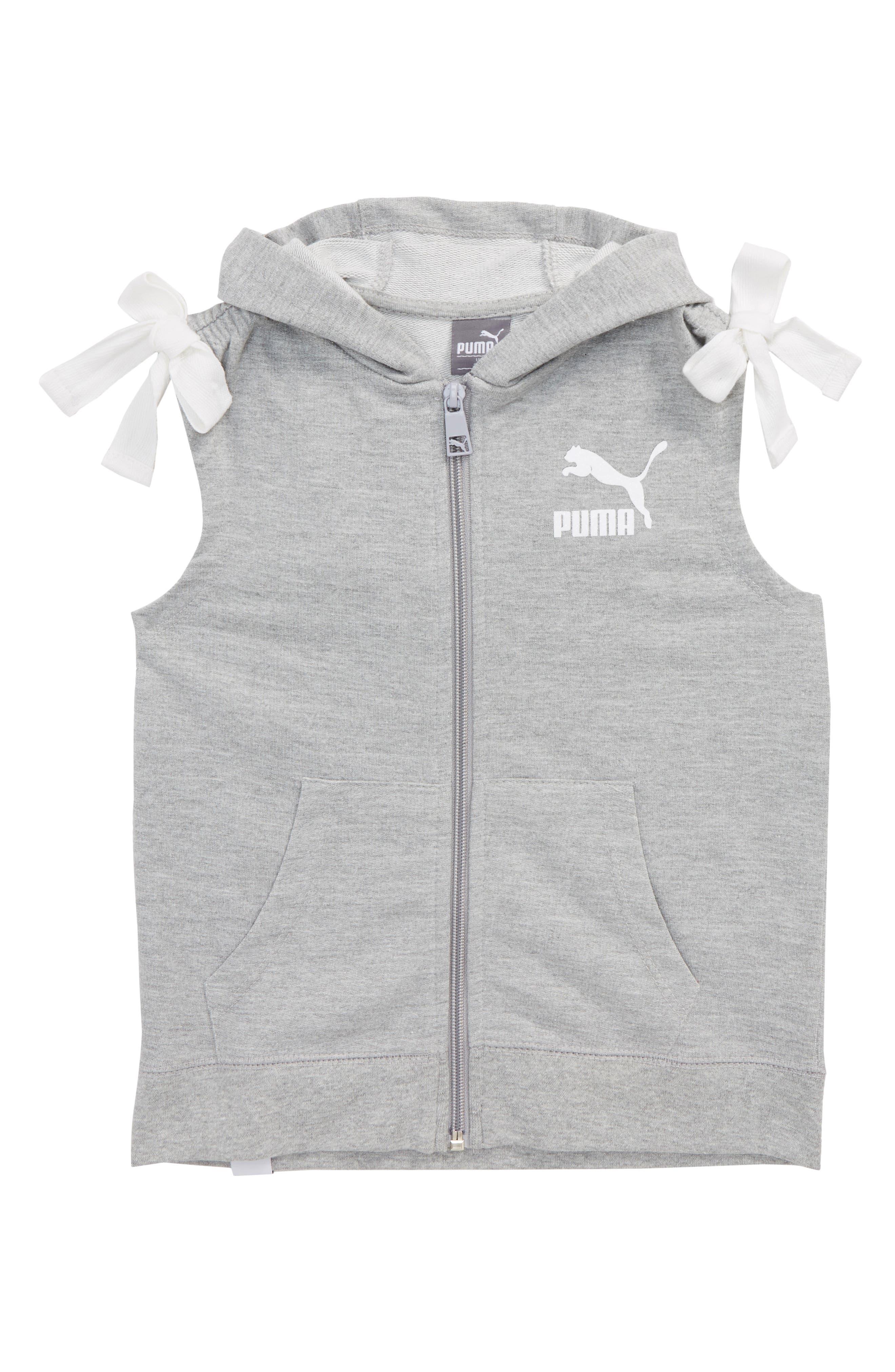 Hooded Zip Vest,                         Main,                         color, Heather Grey