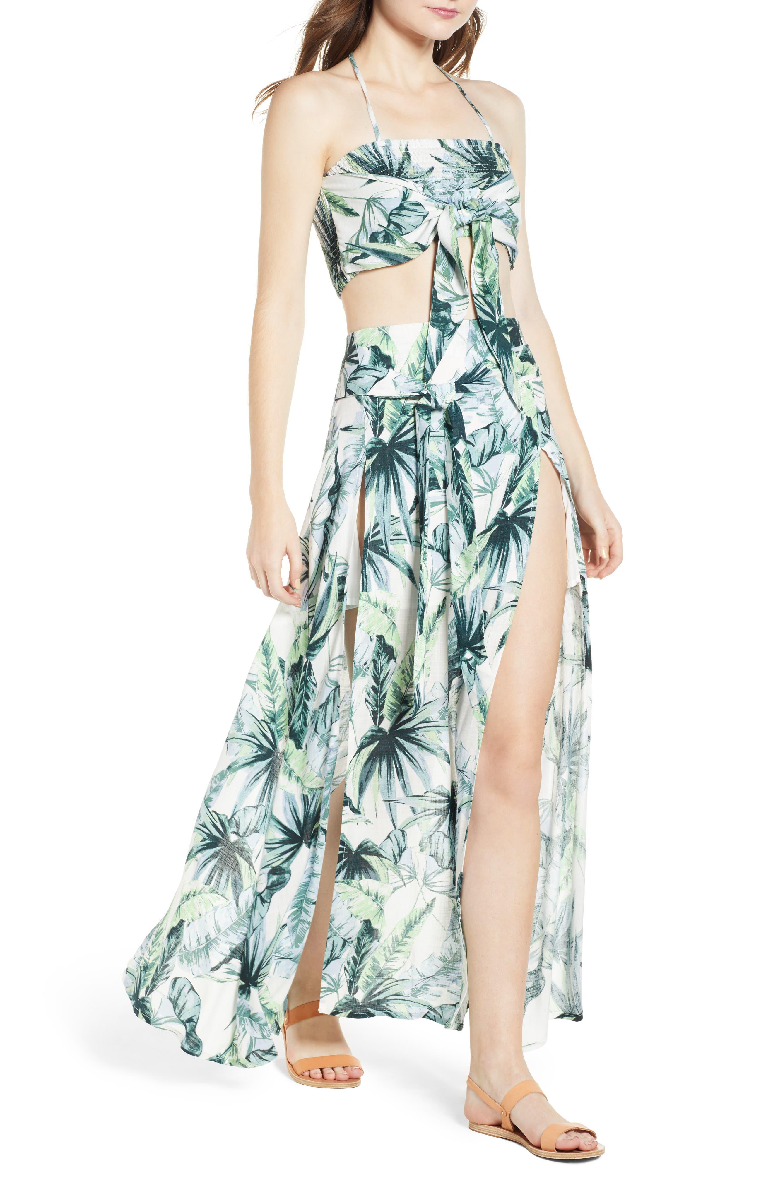 Palm Fringe Skirt,                             Alternate thumbnail 8, color,                             Multi