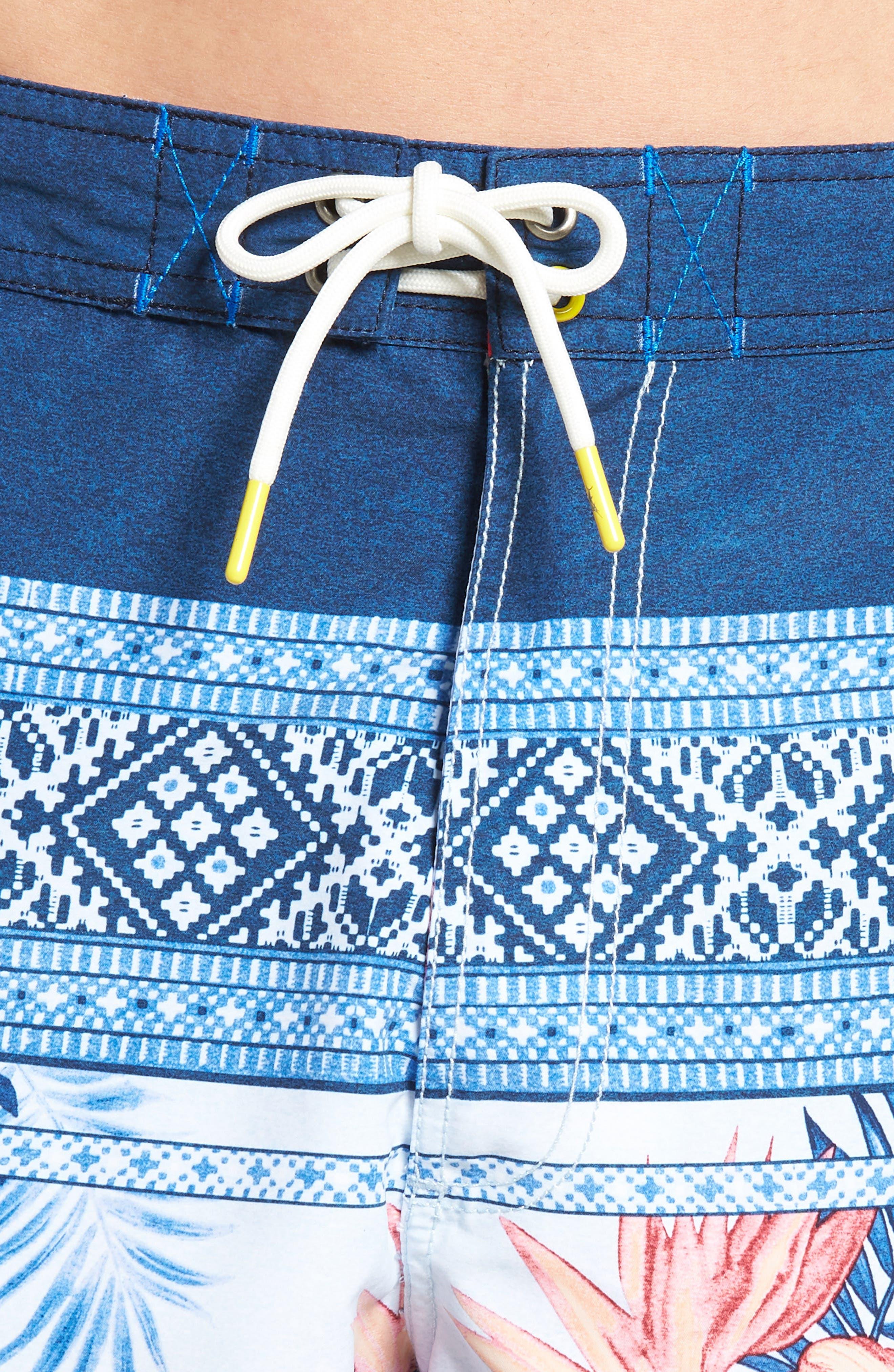 Baja Casa Rosa Board Shorts,                             Alternate thumbnail 4, color,                             Mountain Bluebell
