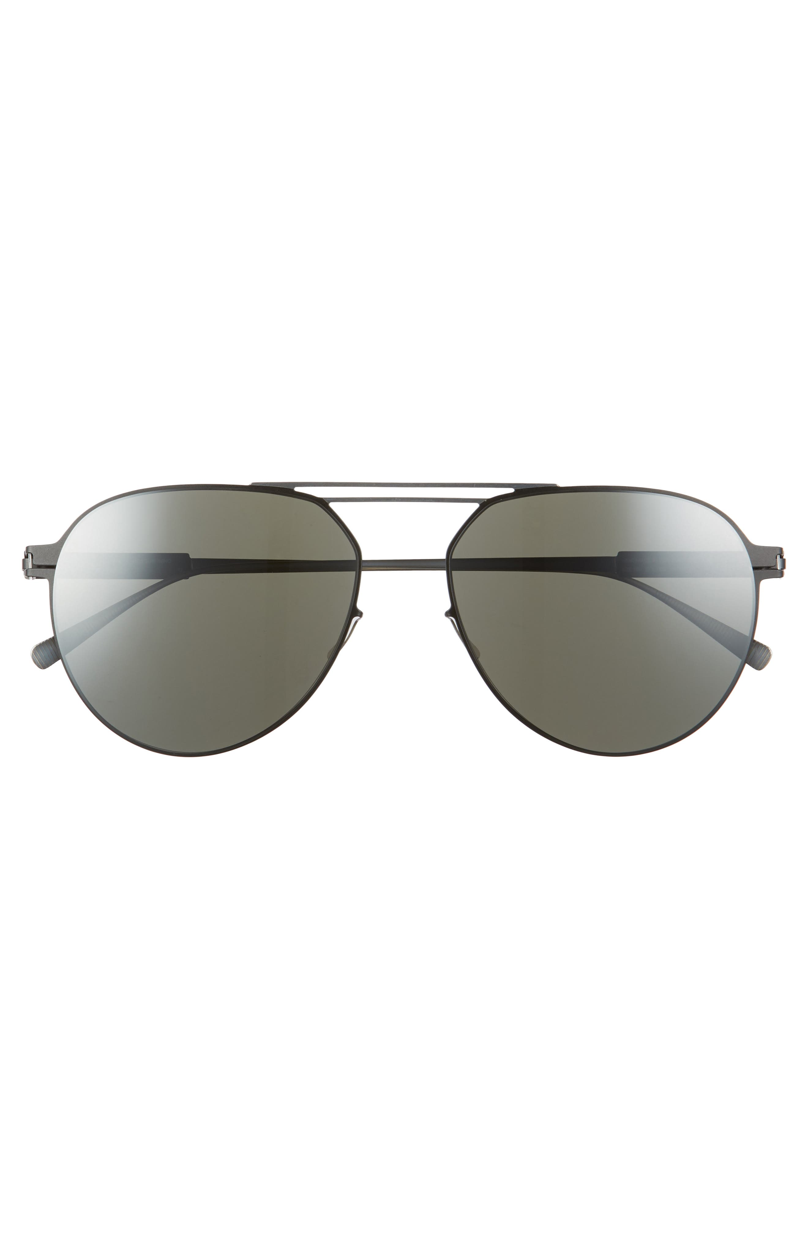 Nino 57mm Aviator Sunglasses,                             Alternate thumbnail 2, color,                             Silver/ Black